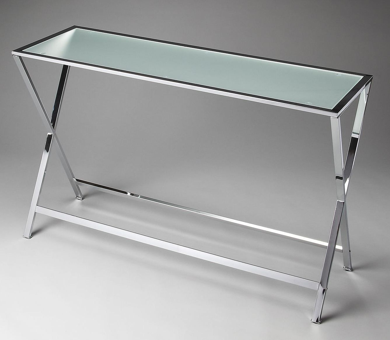 Bergen loft frosted glass console table from butler 3290307 coleman furniture Frosted glass furniture