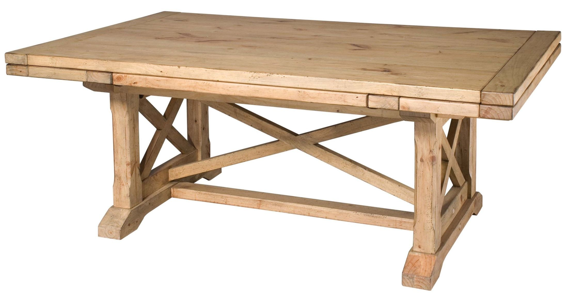 Homecoming Vintage Pine Refectory Extendable Trestle Dining Table From Kincai