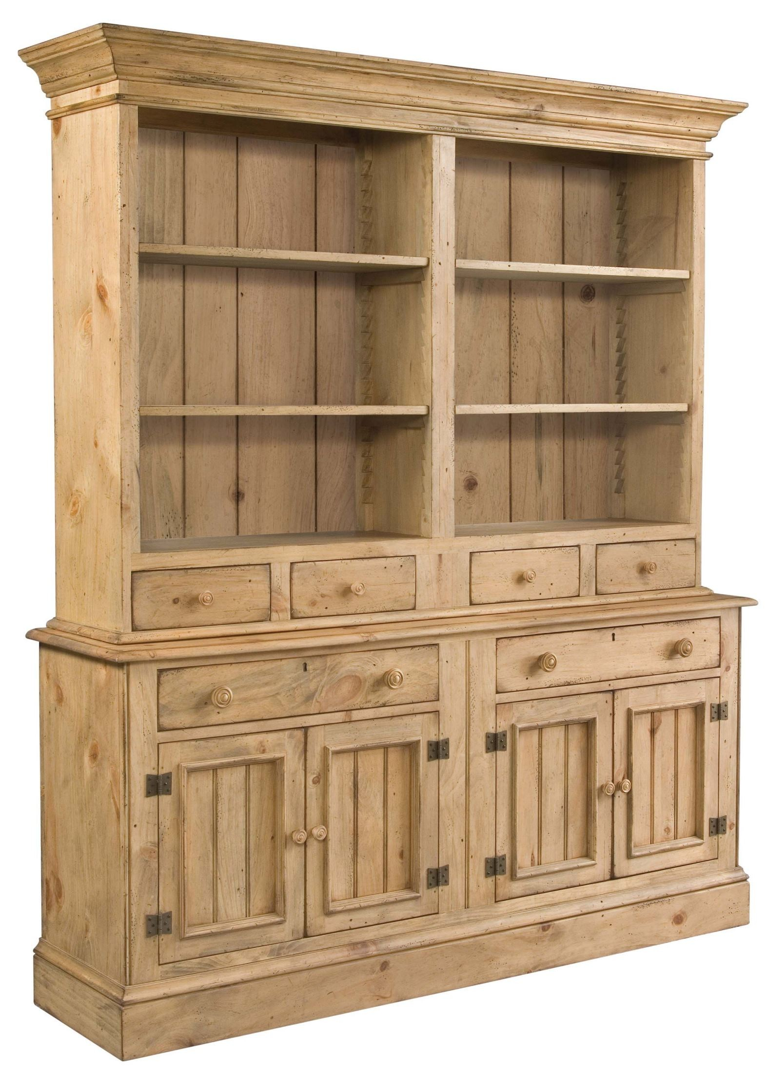 Homecoming Vintage Pine Open Buffet with Hutch from ...