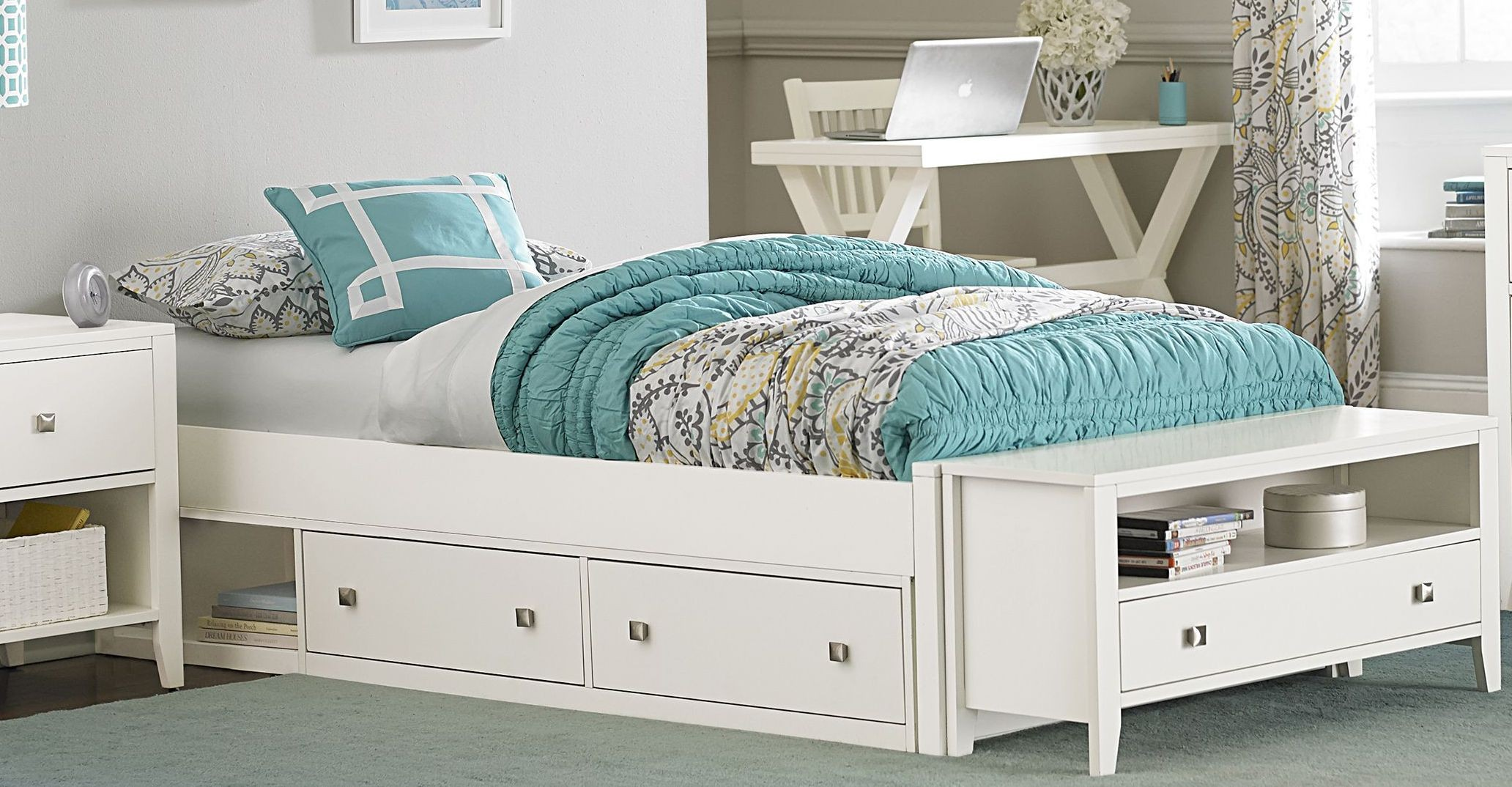 Pulse White Full Platform Bed With Storage From NE Kids