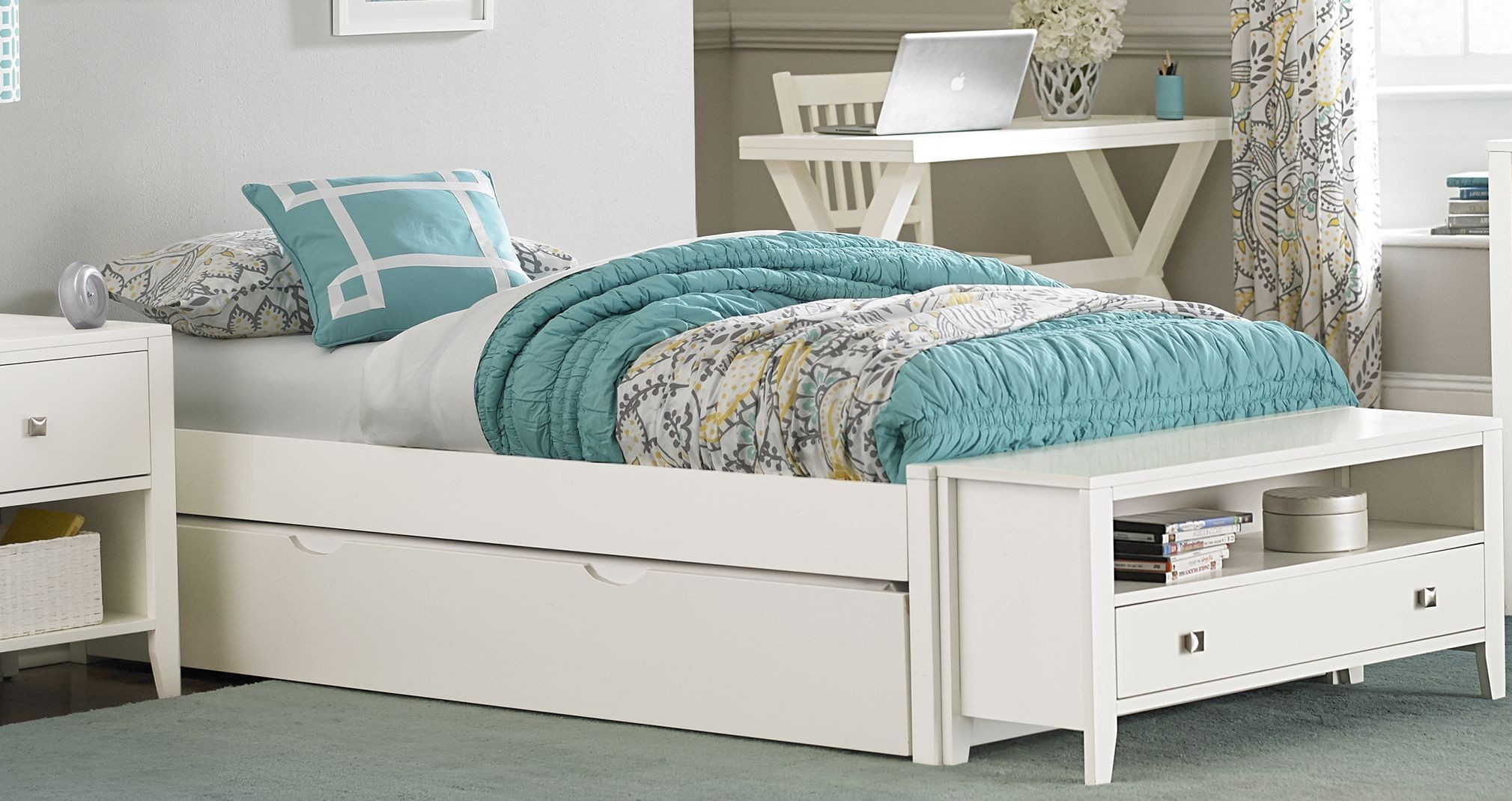 pulse white full platform bed with trundle from ne kids 12921 | 33002nt flplatform trun wh p bed nekids