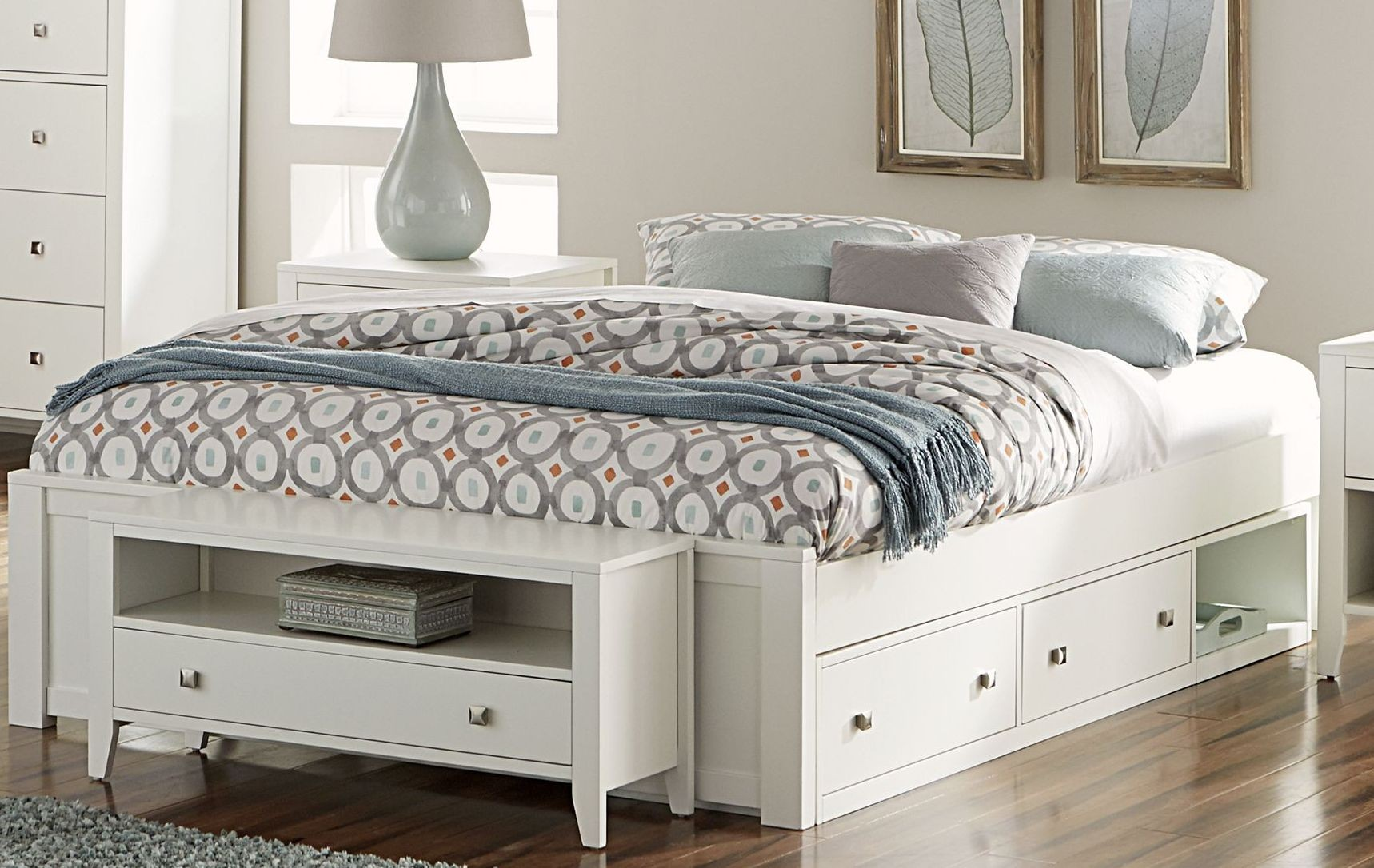 Pulse white queen platform bed with storage from ne kids - Best platform beds with storage ...