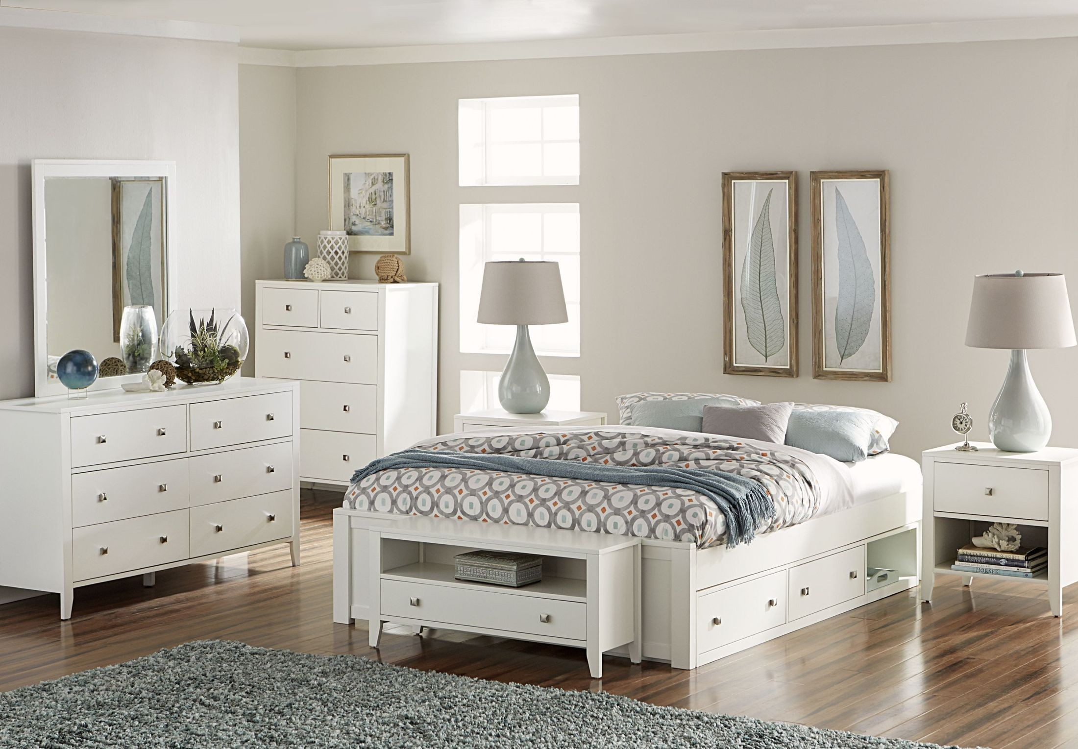 Pulse white platform bedroom set with storage from ne kids - Platform bedroom sets with storage ...