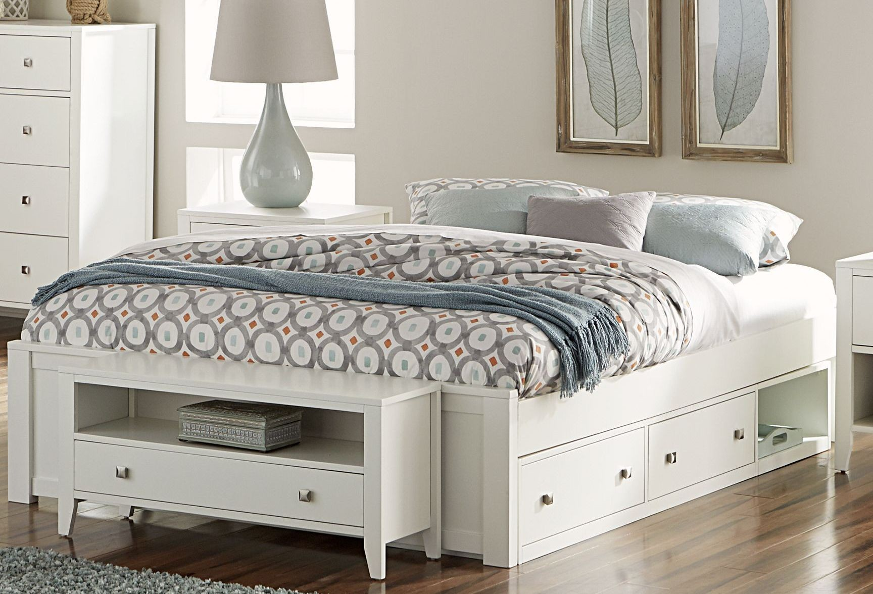 pulse white king platform bed with storage from ne kids coleman furniture. Black Bedroom Furniture Sets. Home Design Ideas