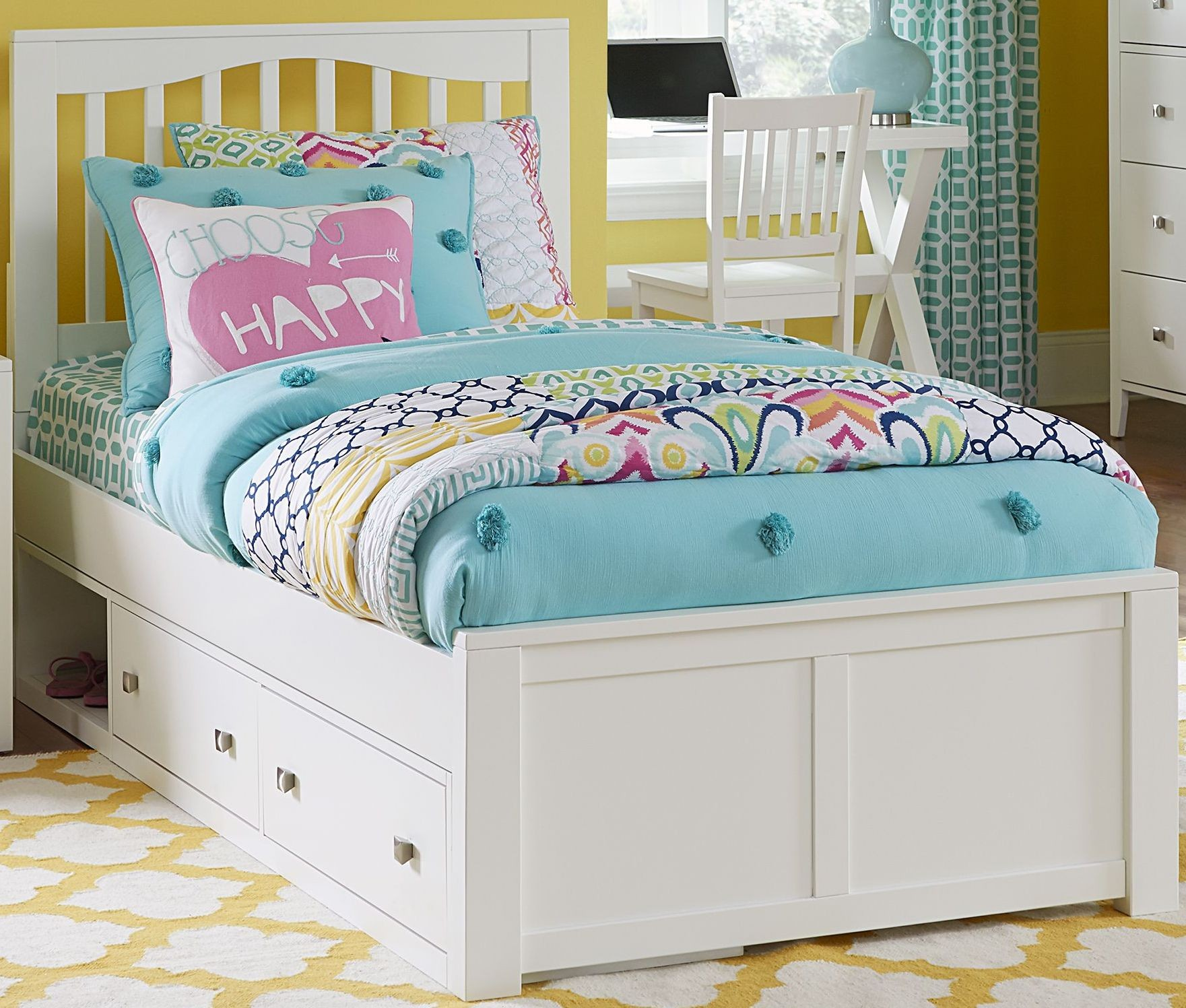 Pulse white mission youth panel bedroom set with storage for White bedroom set with storage