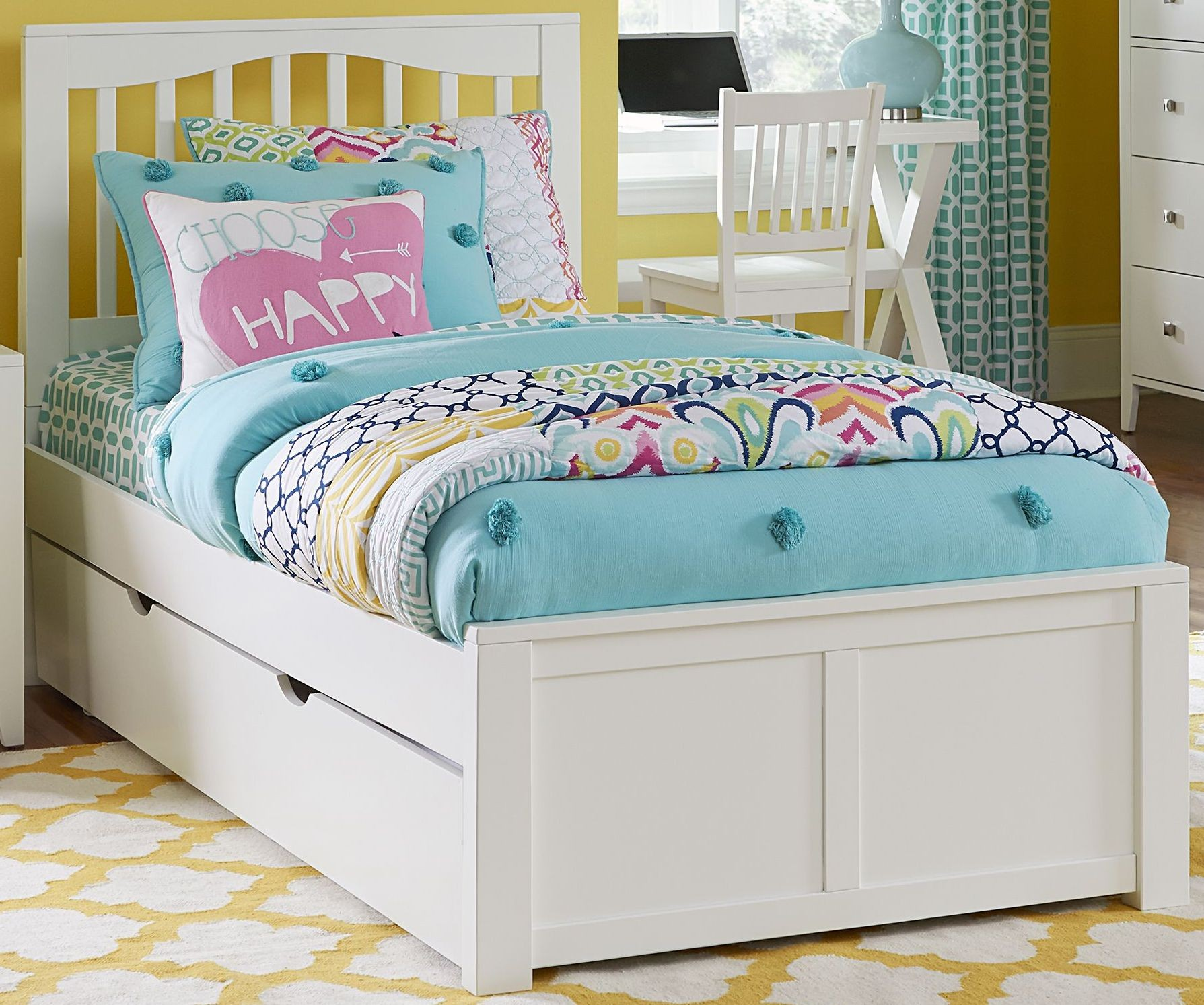 Pulse white mission twin panel bed with trundle from ne White twin trundle bedroom set