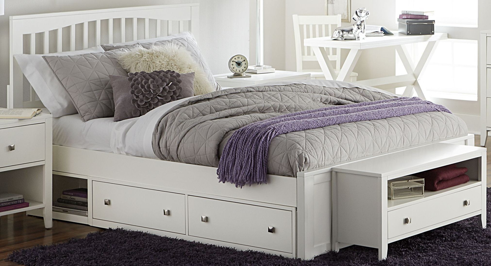 Pulse white mission panel bedroom set with storage from ne for White bedroom set with storage