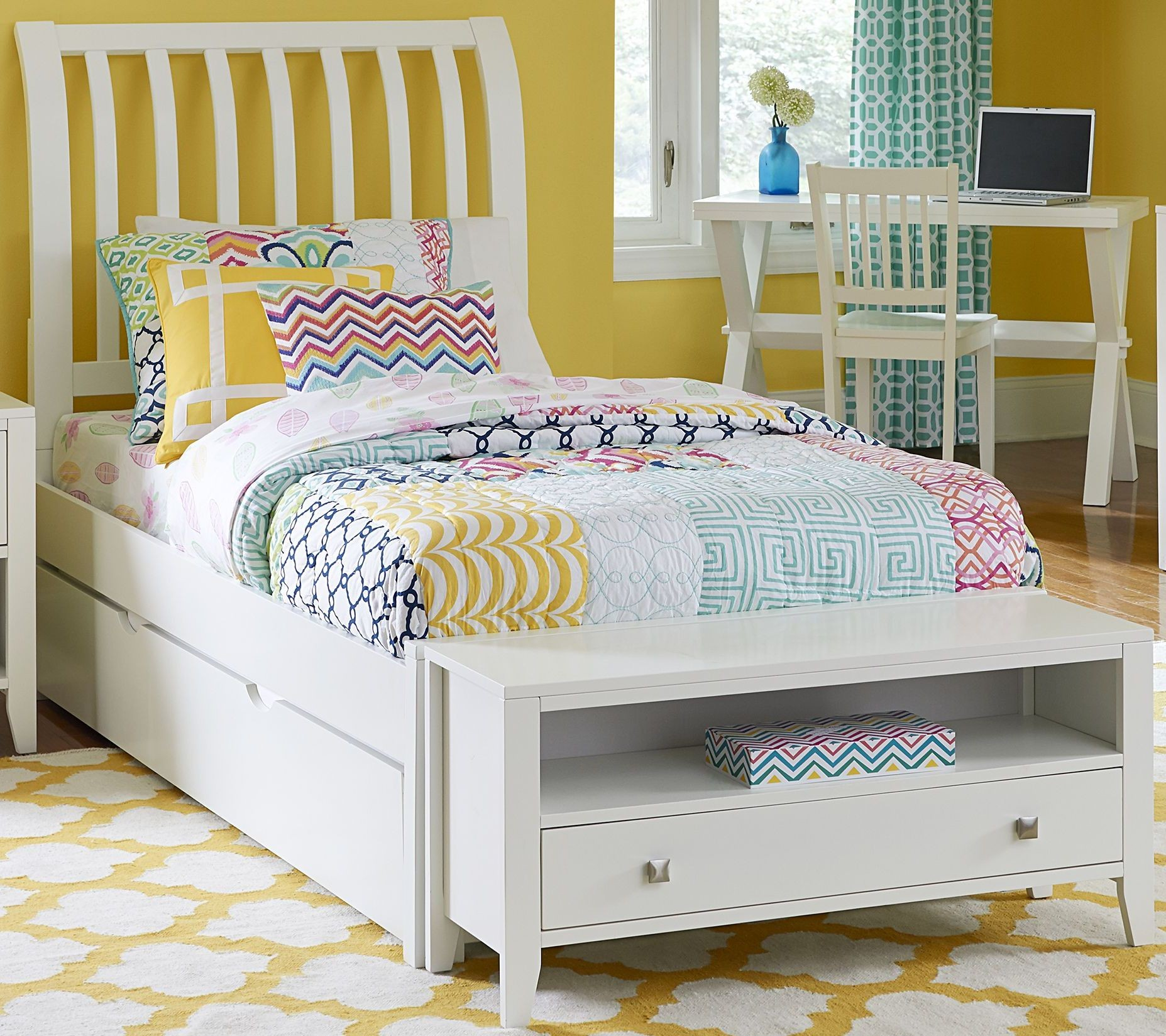 Pulse white rake twin sleigh bed with trundle from ne kids coleman furniture White twin trundle bedroom set