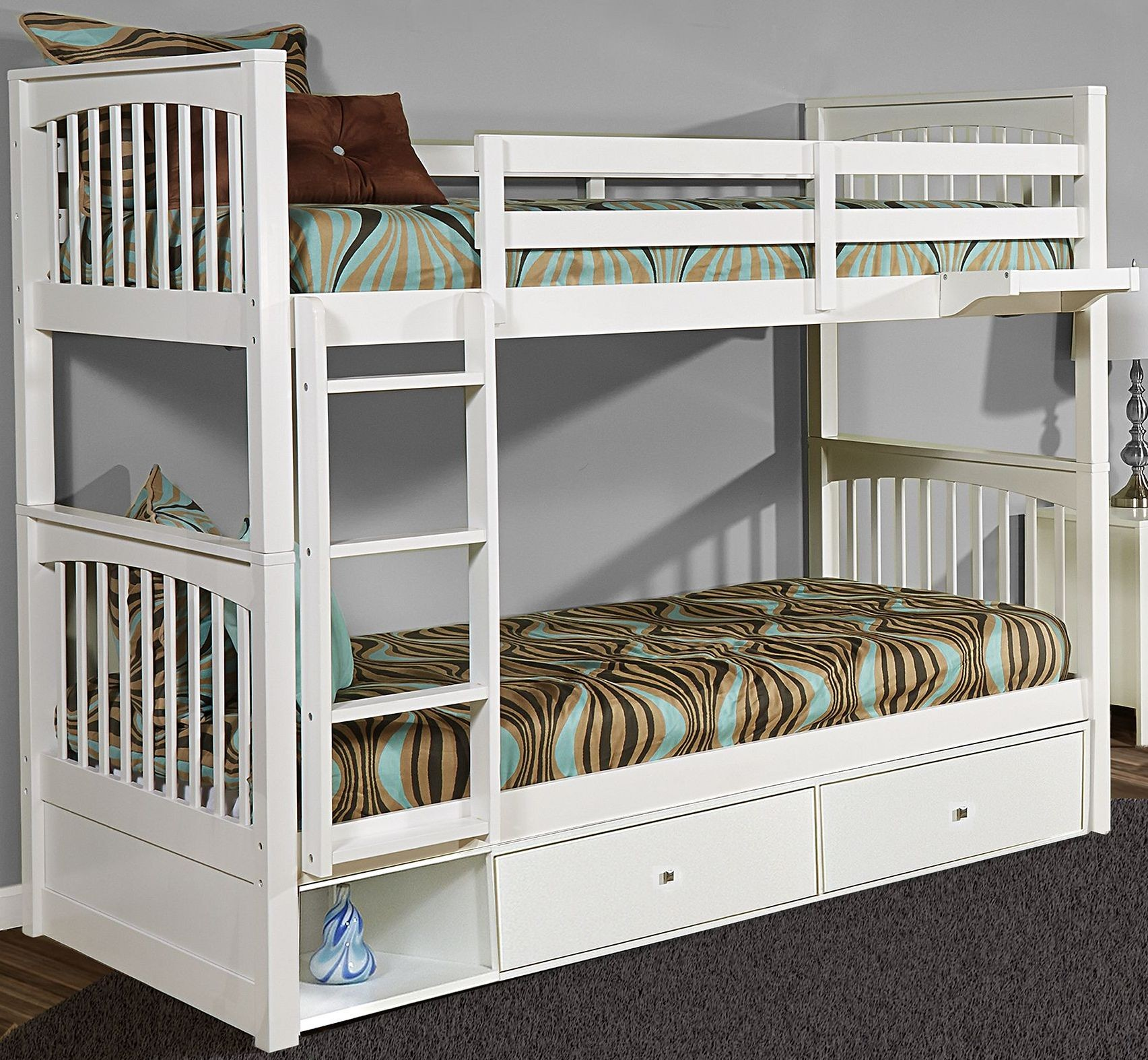 pulse white twin over twin bunk bed with storage from ne kids coleman furniture. Black Bedroom Furniture Sets. Home Design Ideas