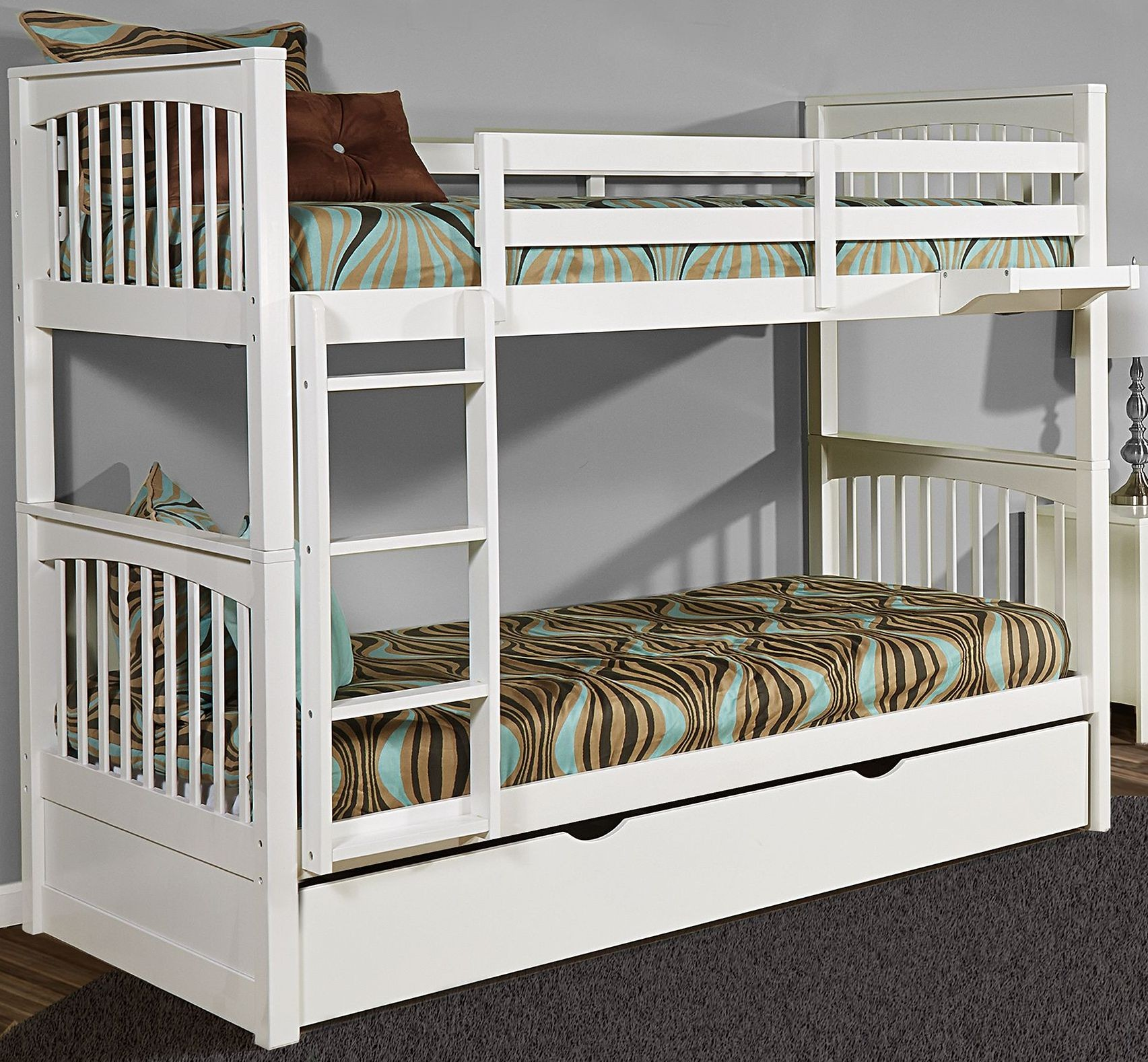 Pulse white twin over twin bunk bed with trundle from ne kids coleman furniture White twin trundle bedroom set