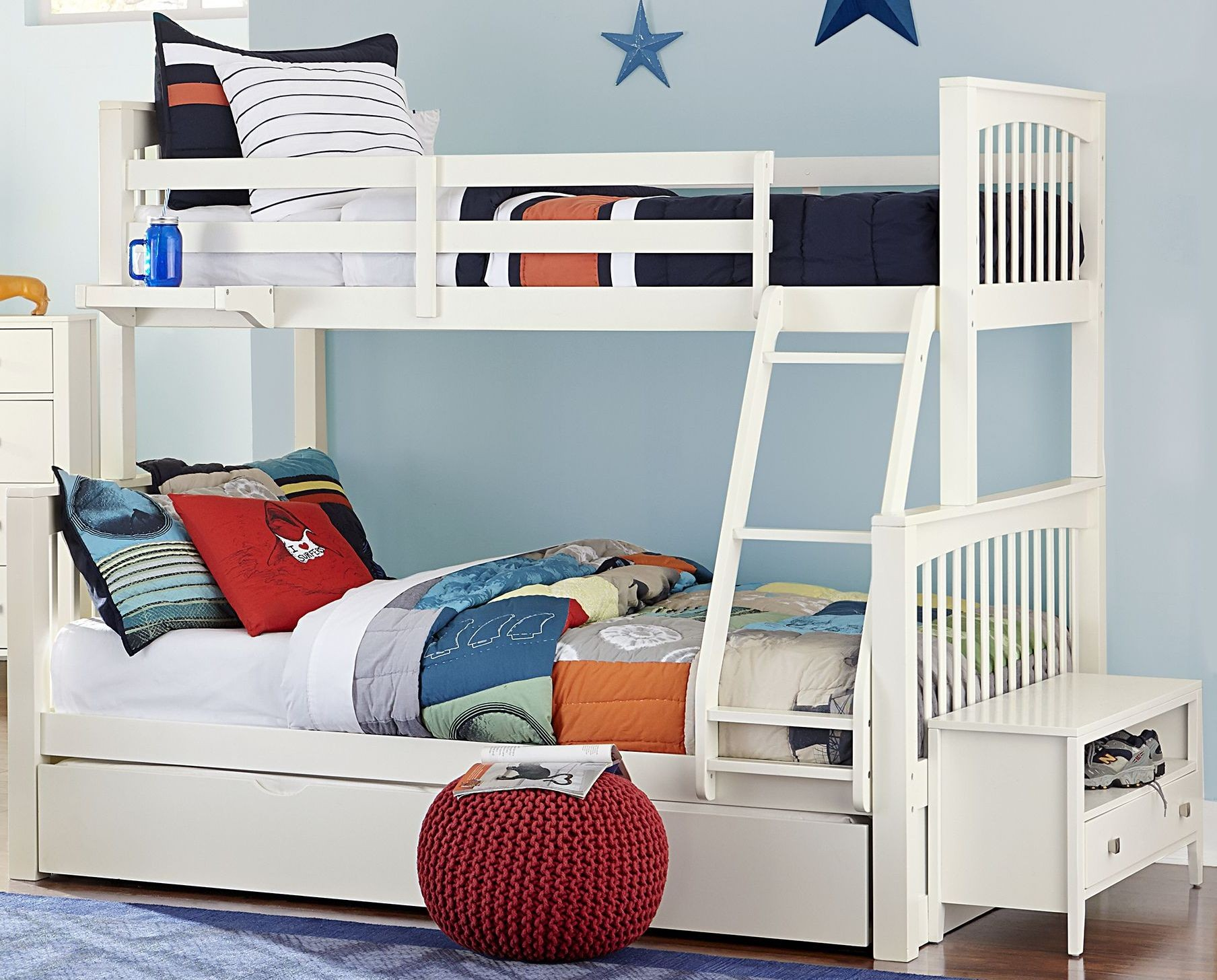 Details About White 3 Piece Storage Drawers Twin Bed Box: Pulse White Twin Over Full Bunk Bed With Trundle From NE