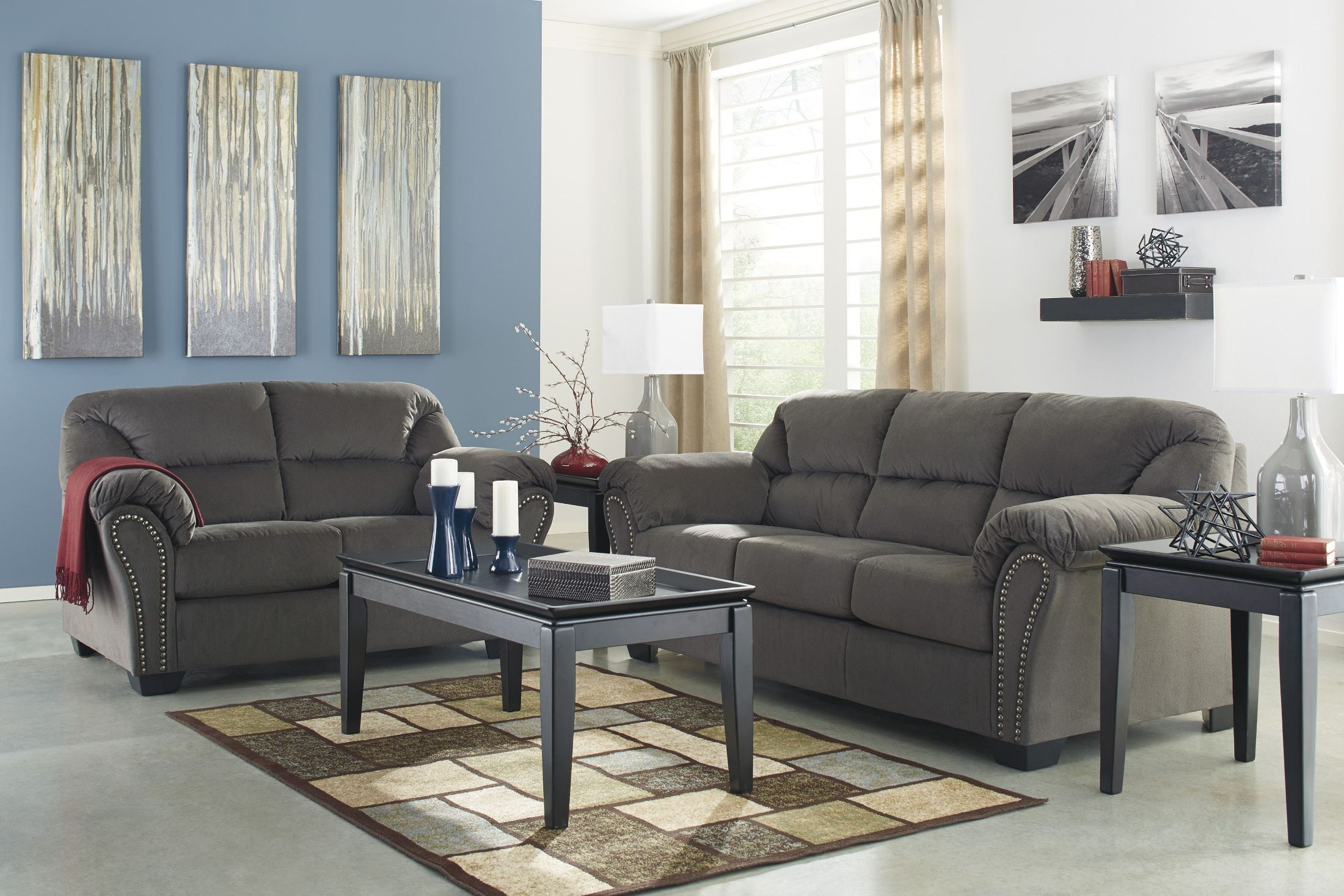 Kinlock Charcoal Loveseat From Ashley 3340035 Coleman