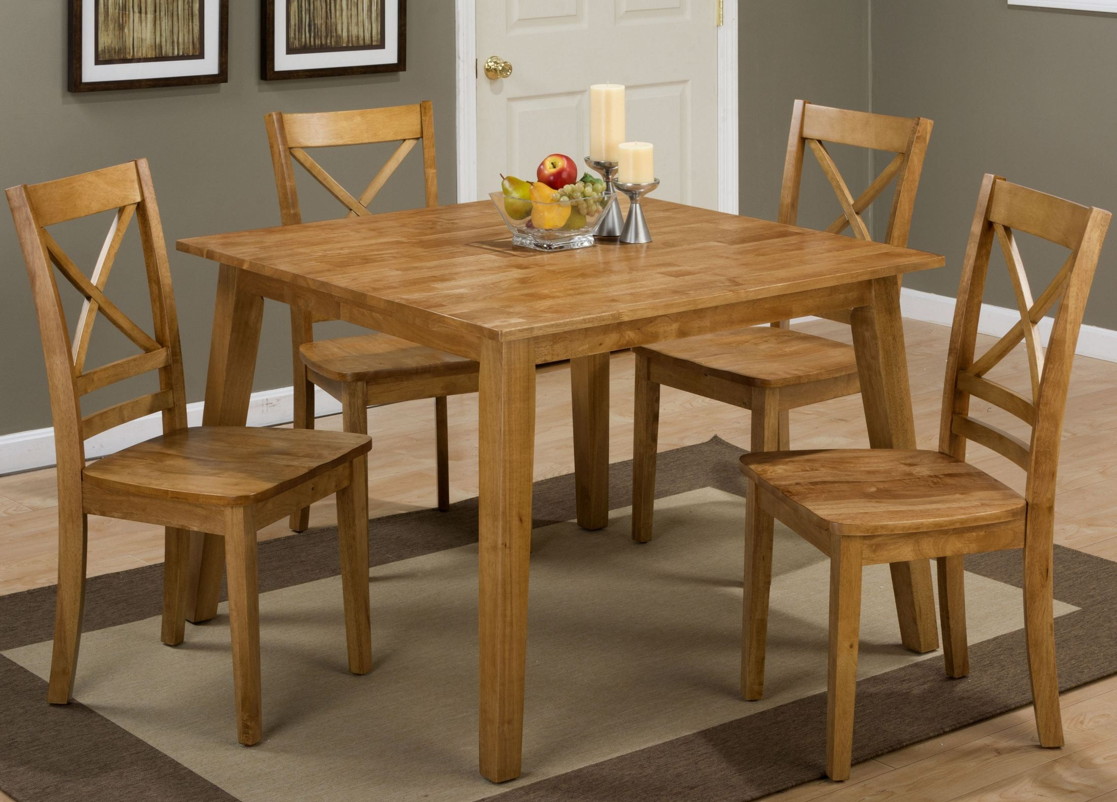 Simplicity honey square dining room set from jofran for Square dinette sets
