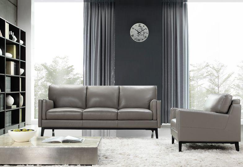Osman Dark Grey Top Grain Leather Living Room Set, 35203M ...