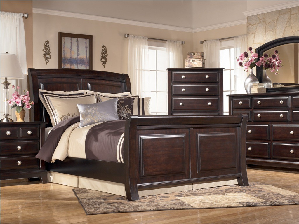 ridgley queen sleigh bed ridgley bedroom furniture collection from signature design by ashley