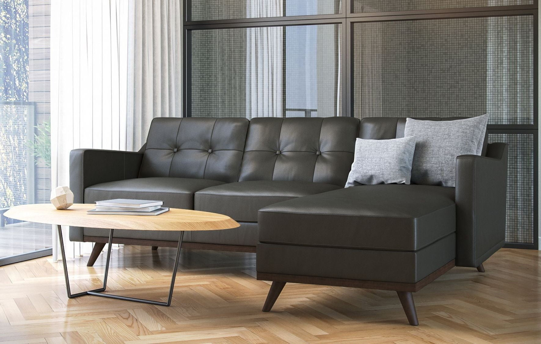 monika charcoal grey leather sectional from moroni coleman furniture. Black Bedroom Furniture Sets. Home Design Ideas