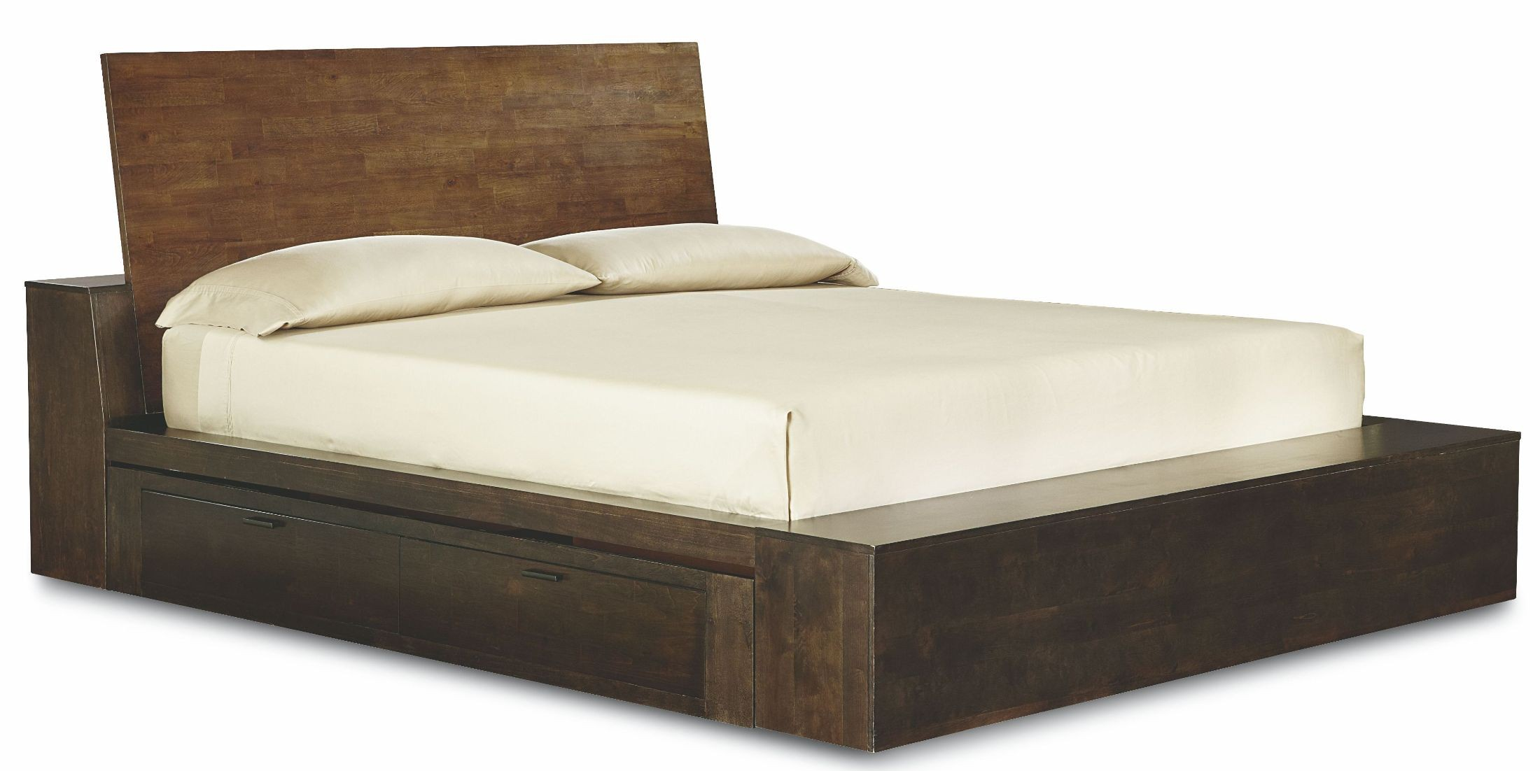 King White Platform Bed With Storage