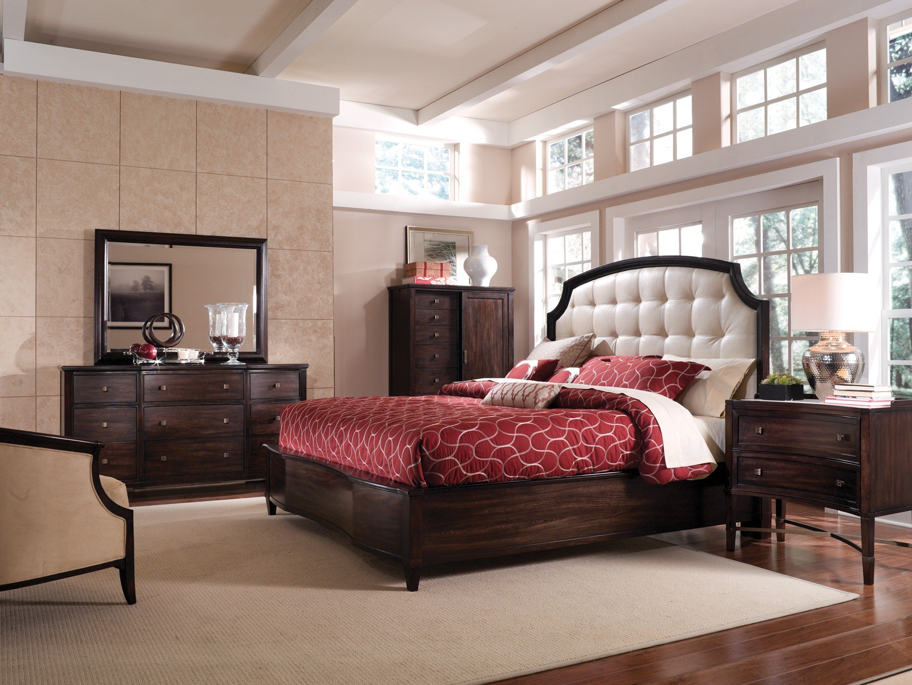 intrigue leather panel bedroom set from art 161155