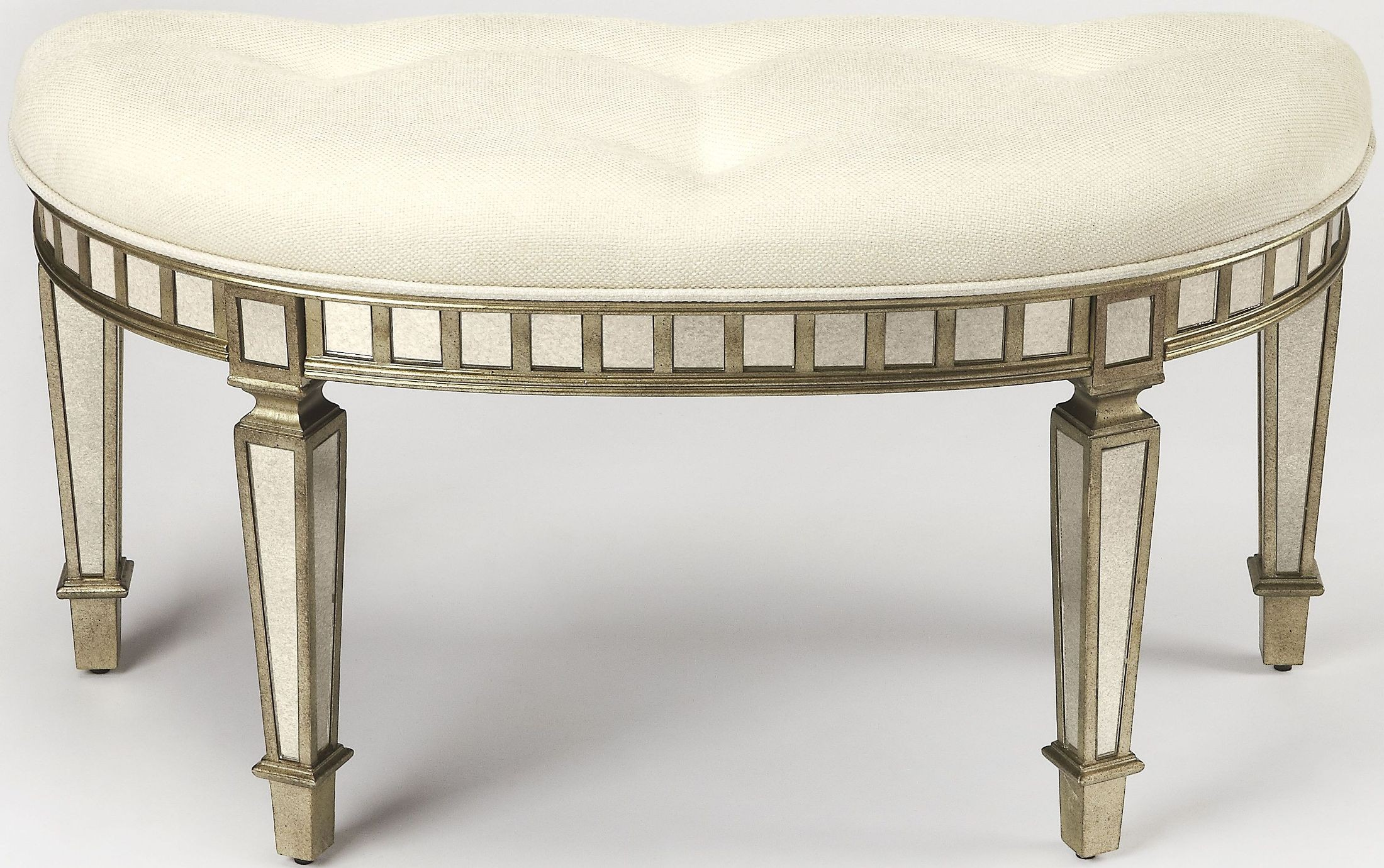 Garbo Mirrored Demilune Bench From Butler Coleman Furniture