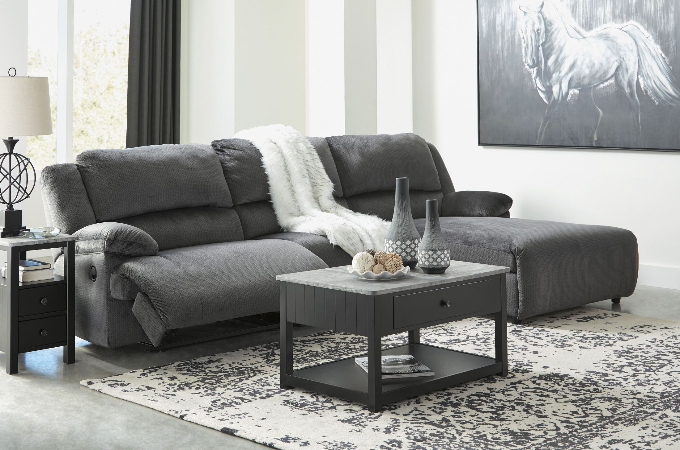 Clonmel Charcoal RAF Small Power Reclining Sectional from ...