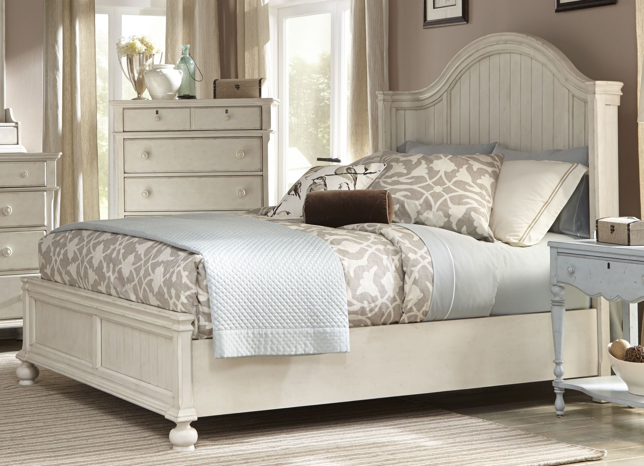 Newport antique white king panel bed from american for American furniture catalog 2015