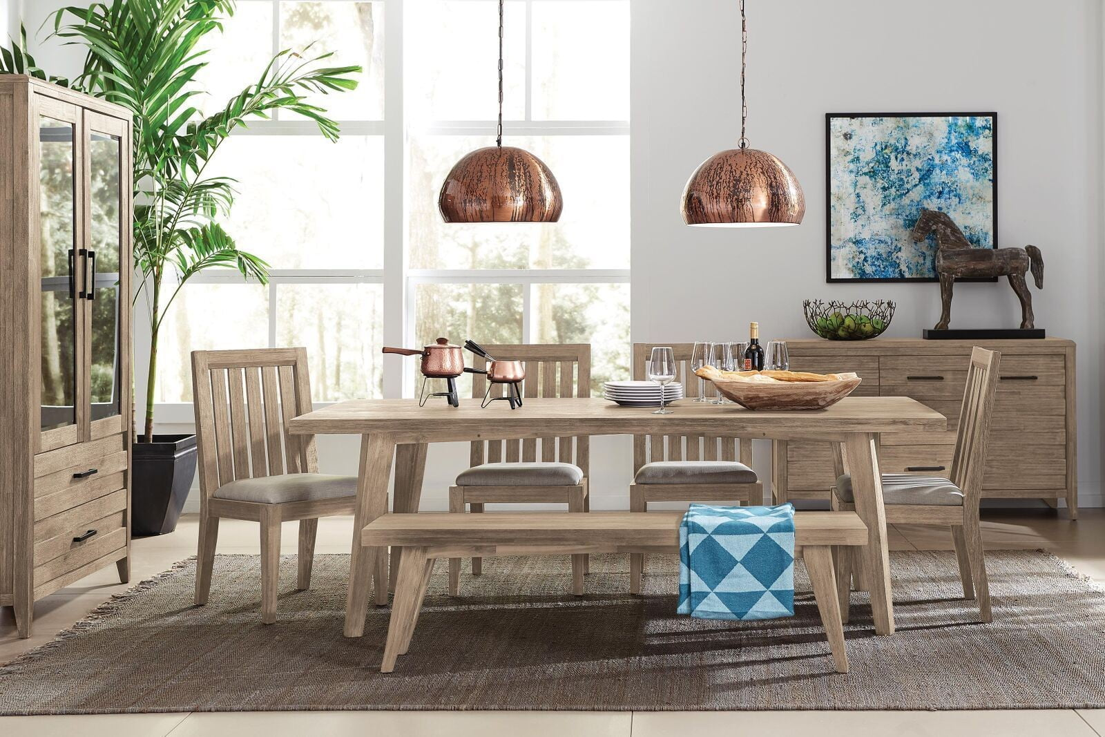 Casablanca weathered acacia rectangular dining room set 2606912