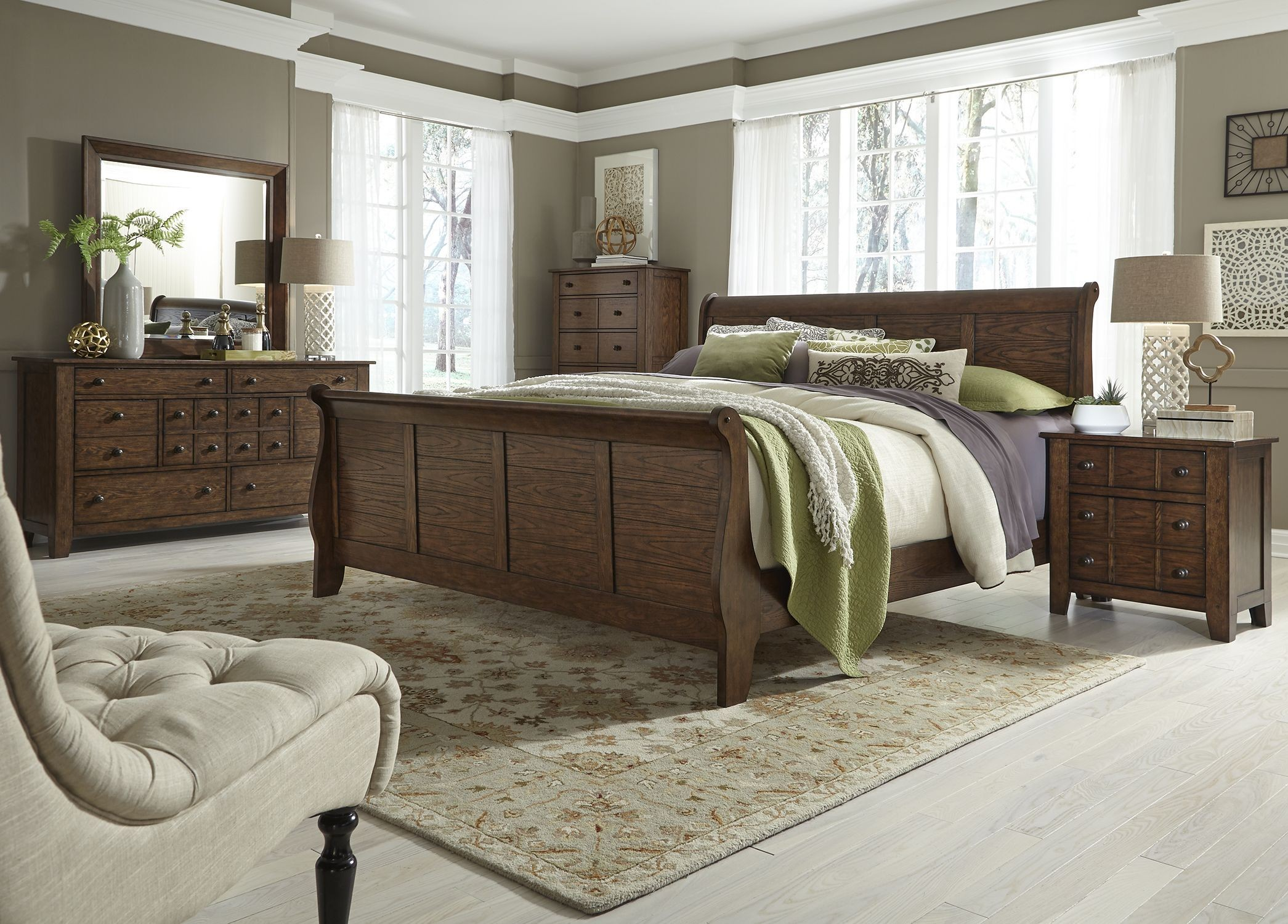 grandpas cabin brown sleigh bedroom set from liberty 10969 | 375 br qsldmcn liberty