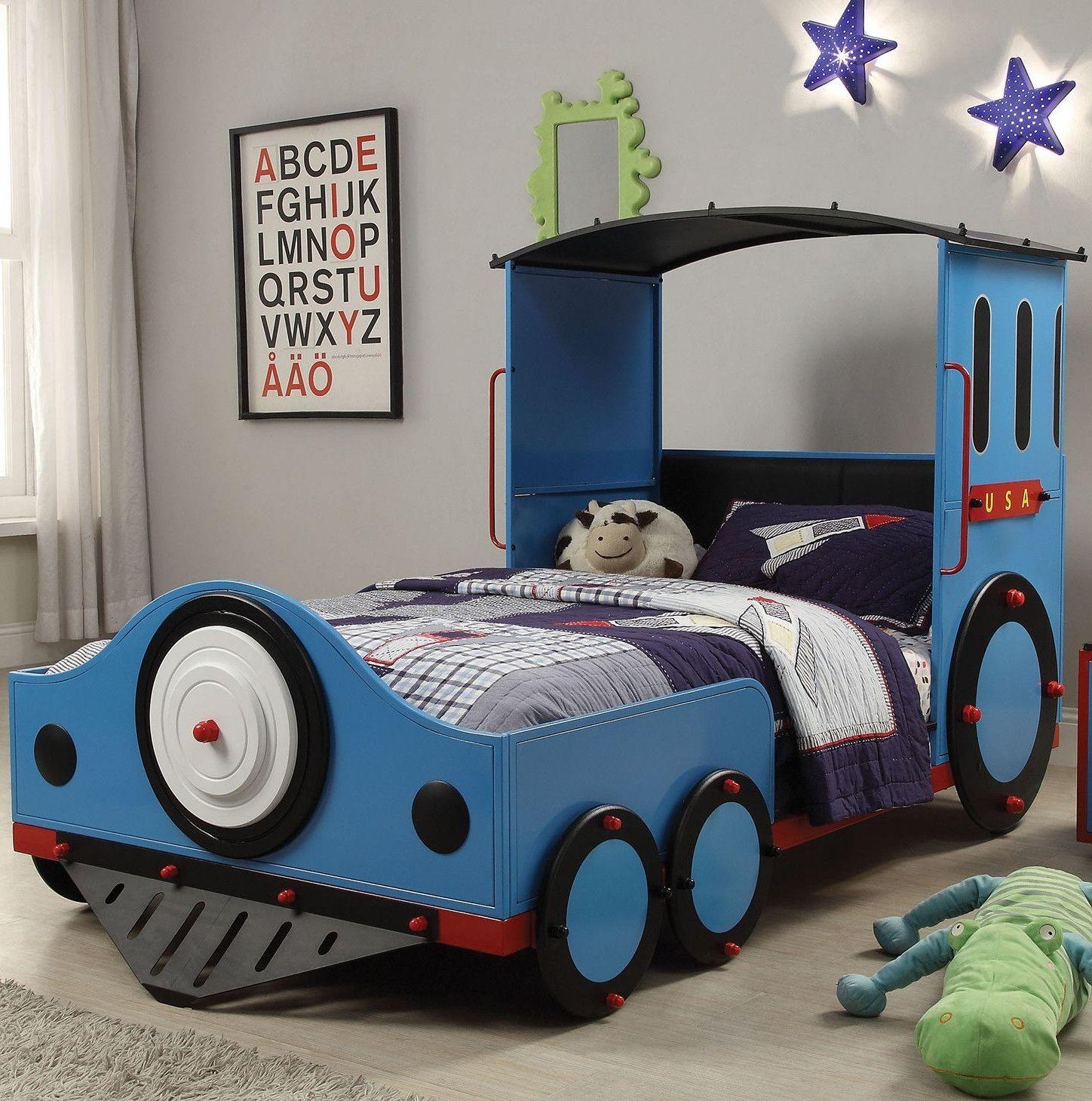 X Tobi Blue And Black Twin Train Bed