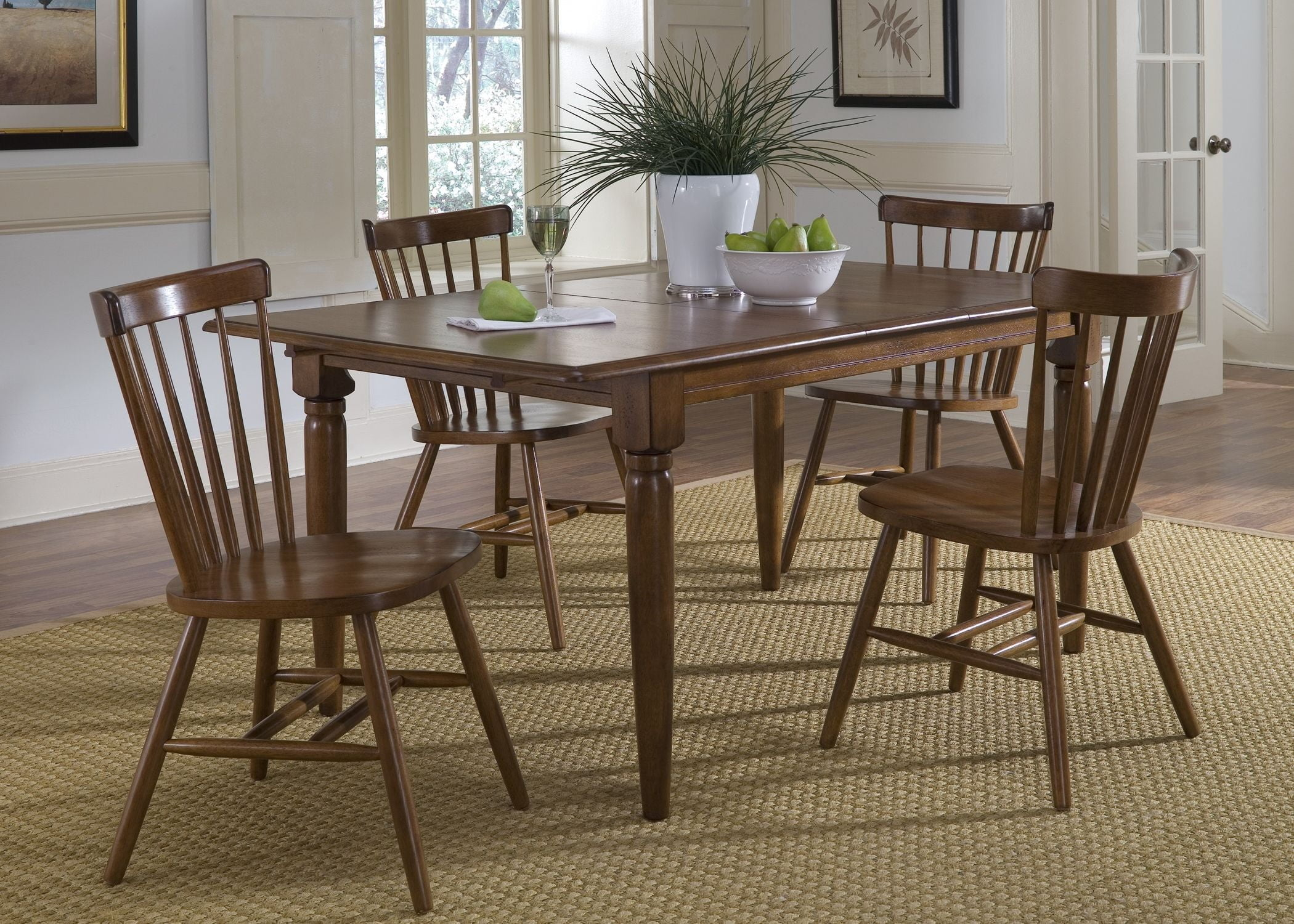 Creations ii tobacco butterfly leaf dining room set from for Dining room leaf