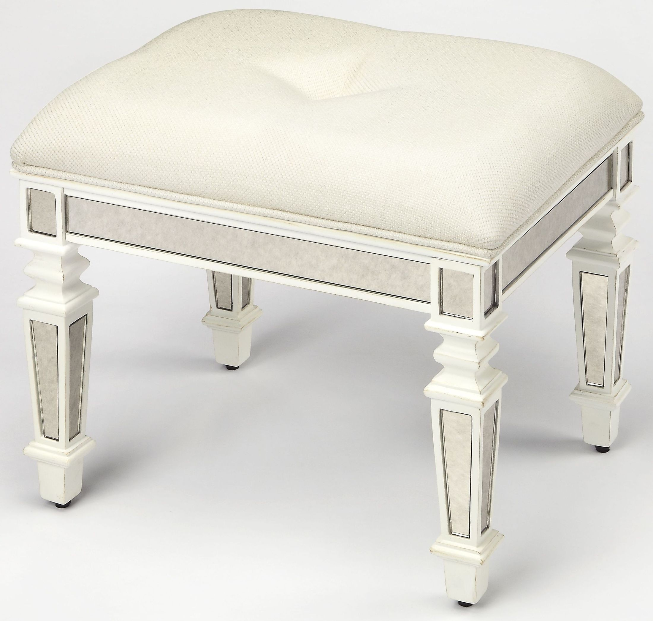Berkshire White Vanity Stool From Butler Coleman Furniture