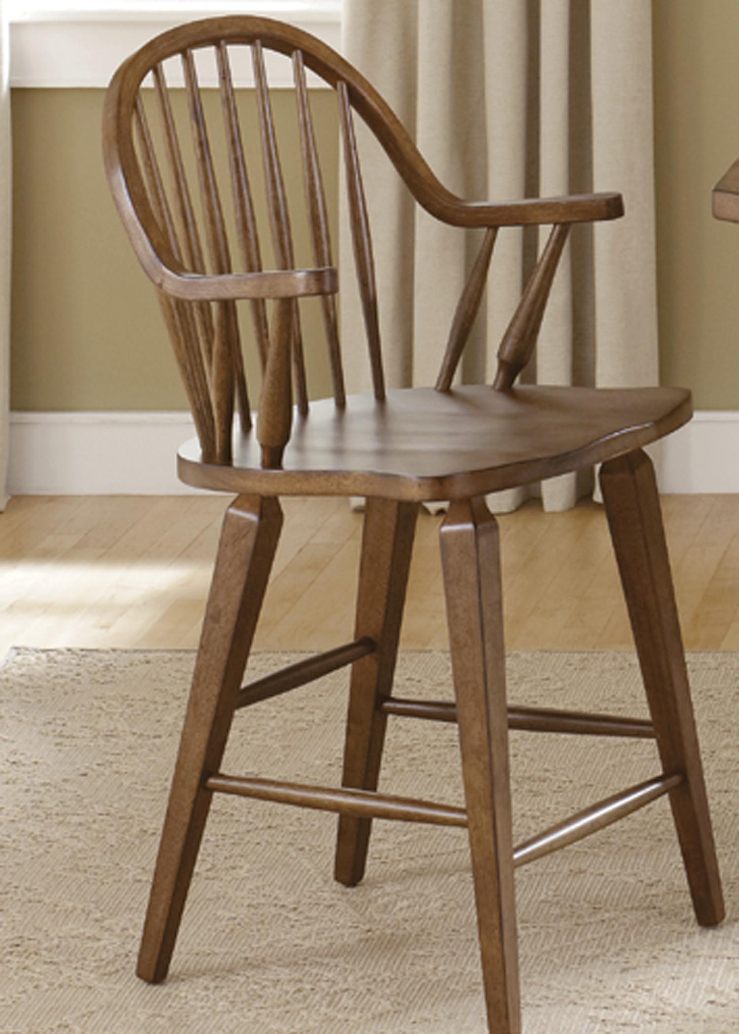 Hearthstone Rustic Oak 24 Inch Swivel Counter Chair From