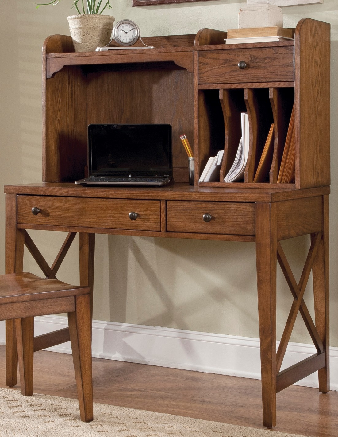 Hearthstone Writing Desk With Hutch from Liberty (382-HO-DSK) | Coleman Furniture
