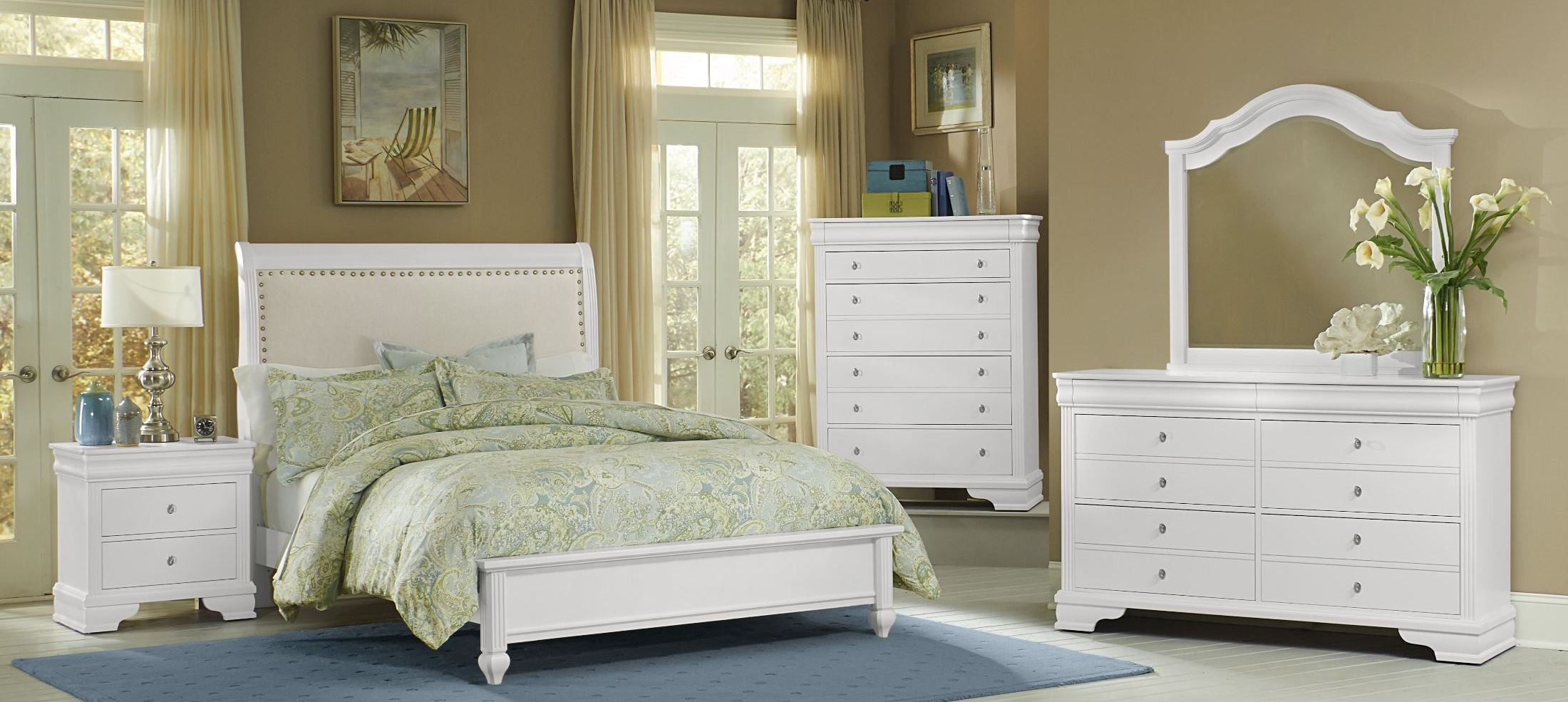 French Market Soft White Youth Upholstered Panel Bedroom
