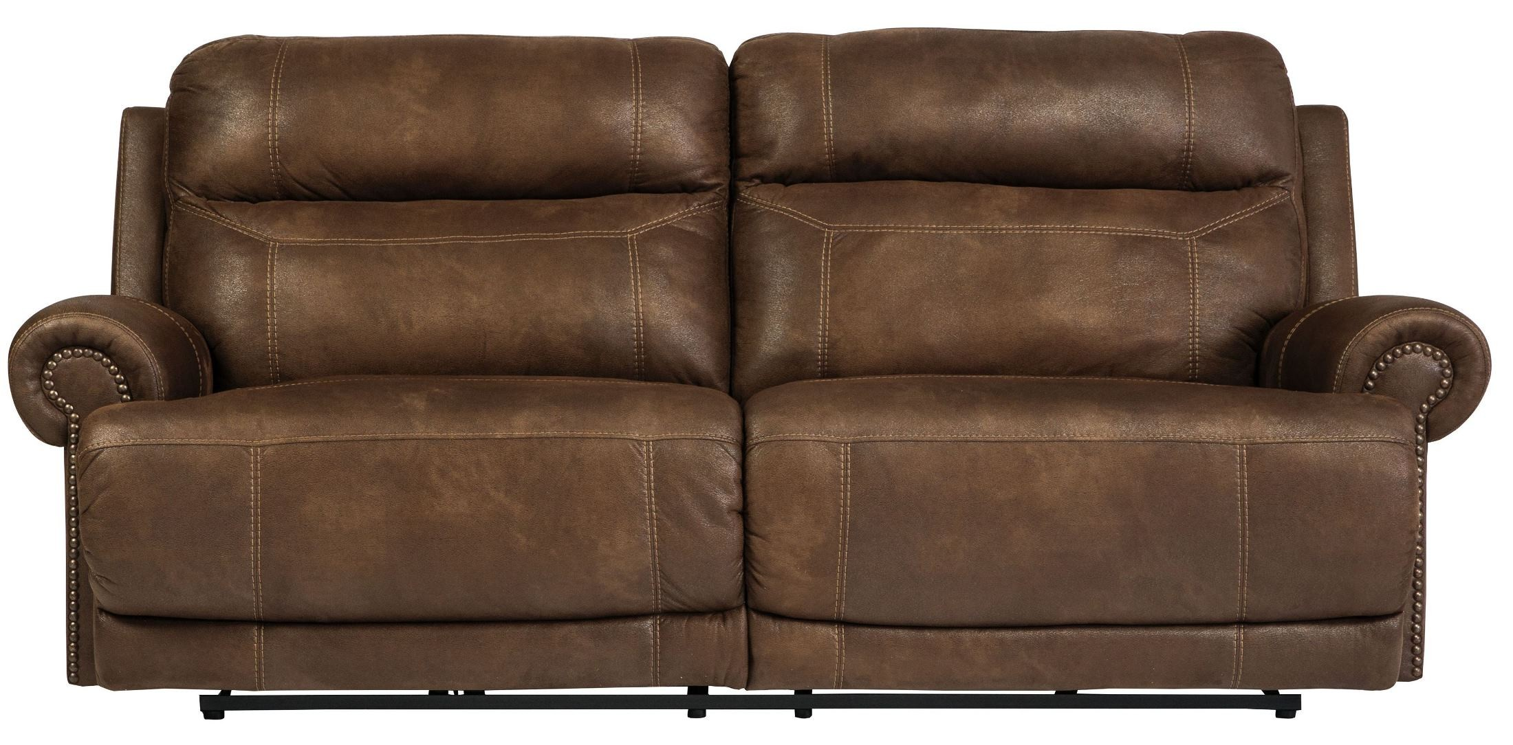 Austere brown power reclining sofa from ashley 3840047 for Affordable furniture 3 piece sectional in wyoming saddle