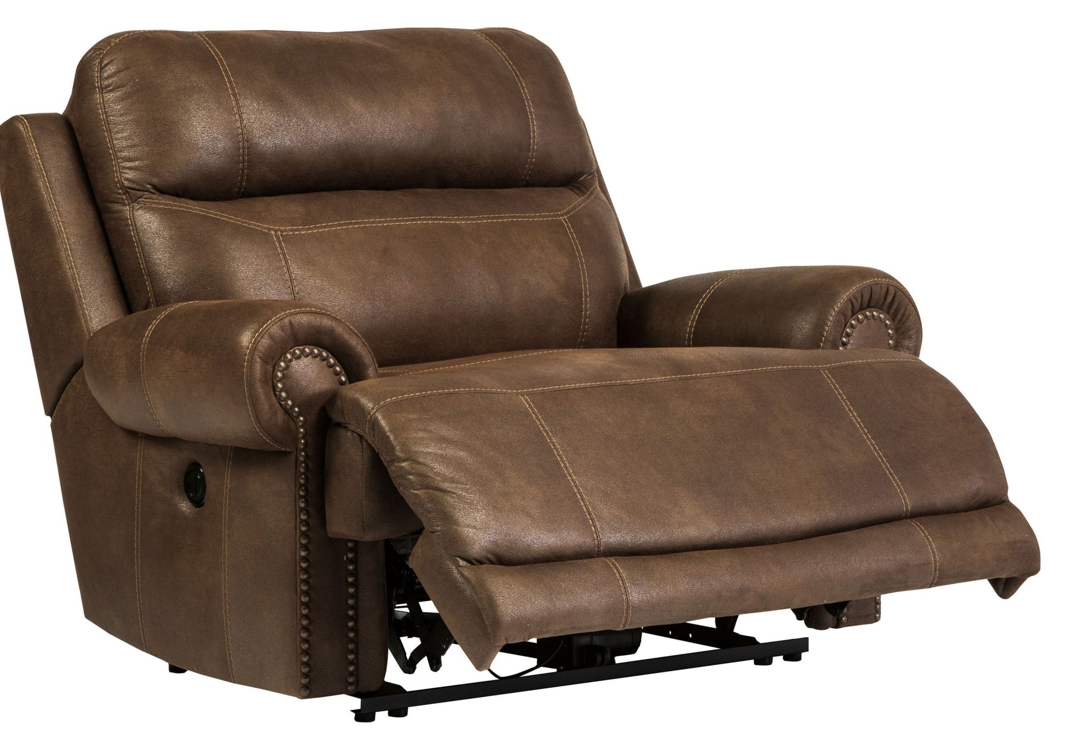 Austere Brown Zero Wall Wide Seat Power Recliner From