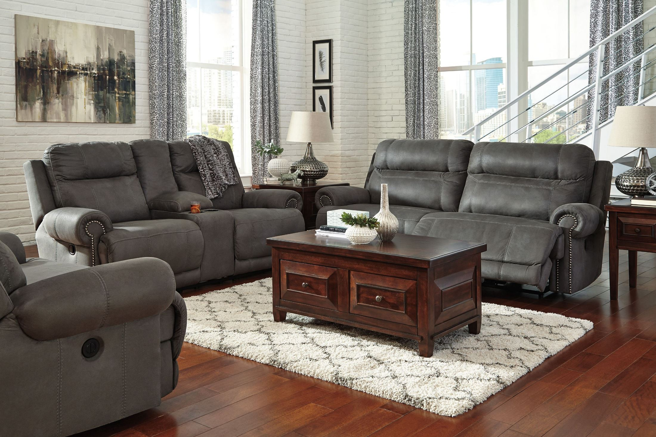 Austere gray reclining living room set from ashley for Upholstery living room furniture