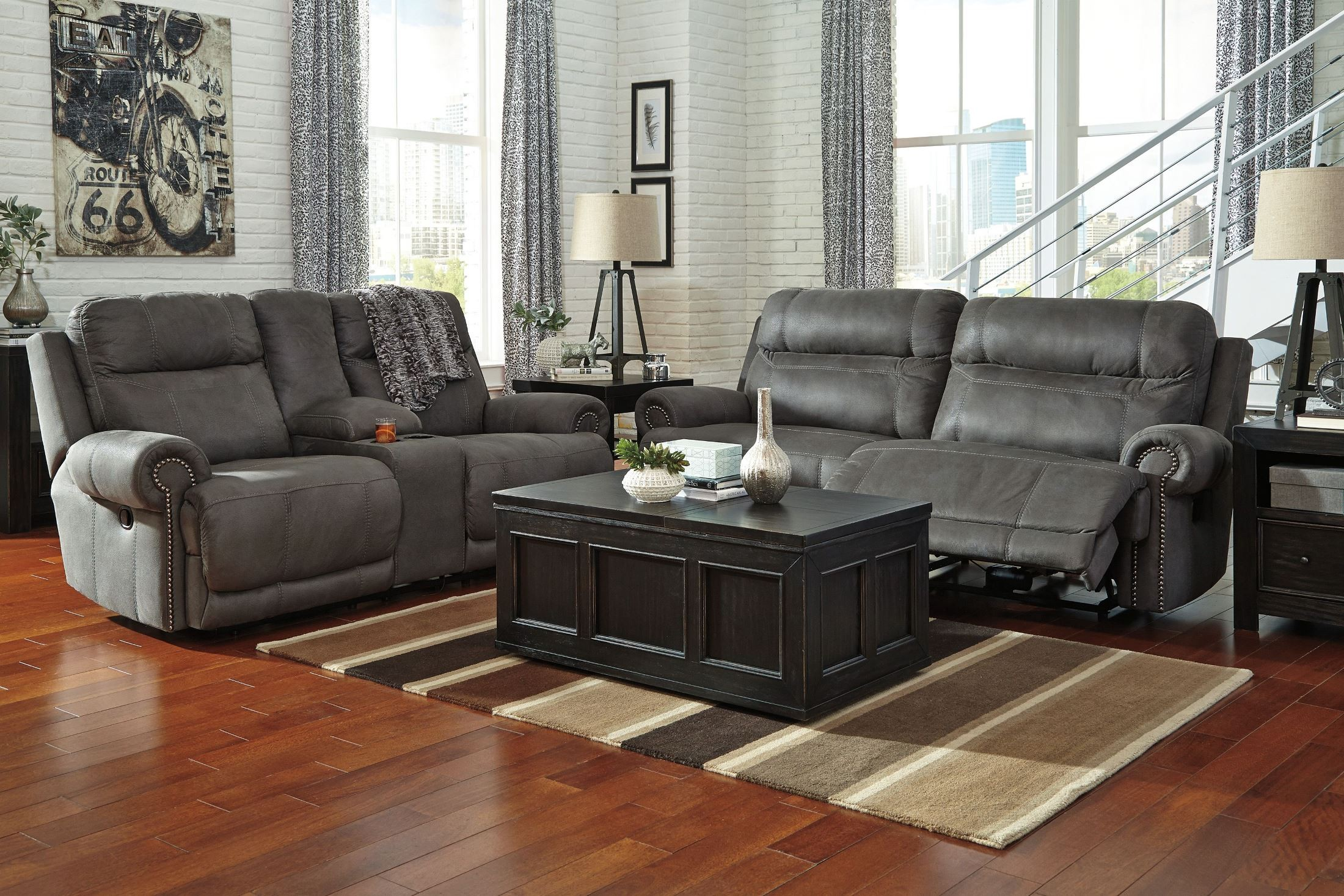 Austere Gray Reclining Sofa From Ashley 3840181 Coleman Furniture