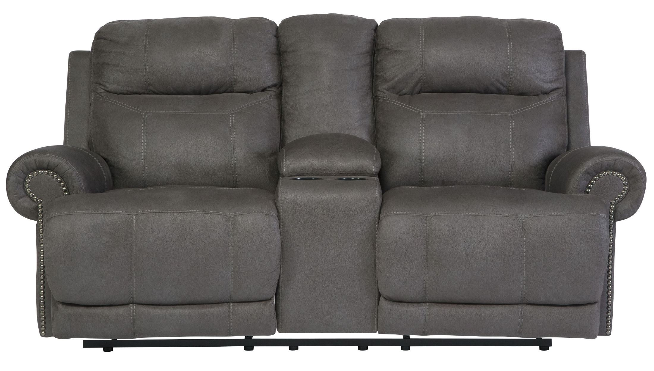 austere gray double reclining loveseat with console from