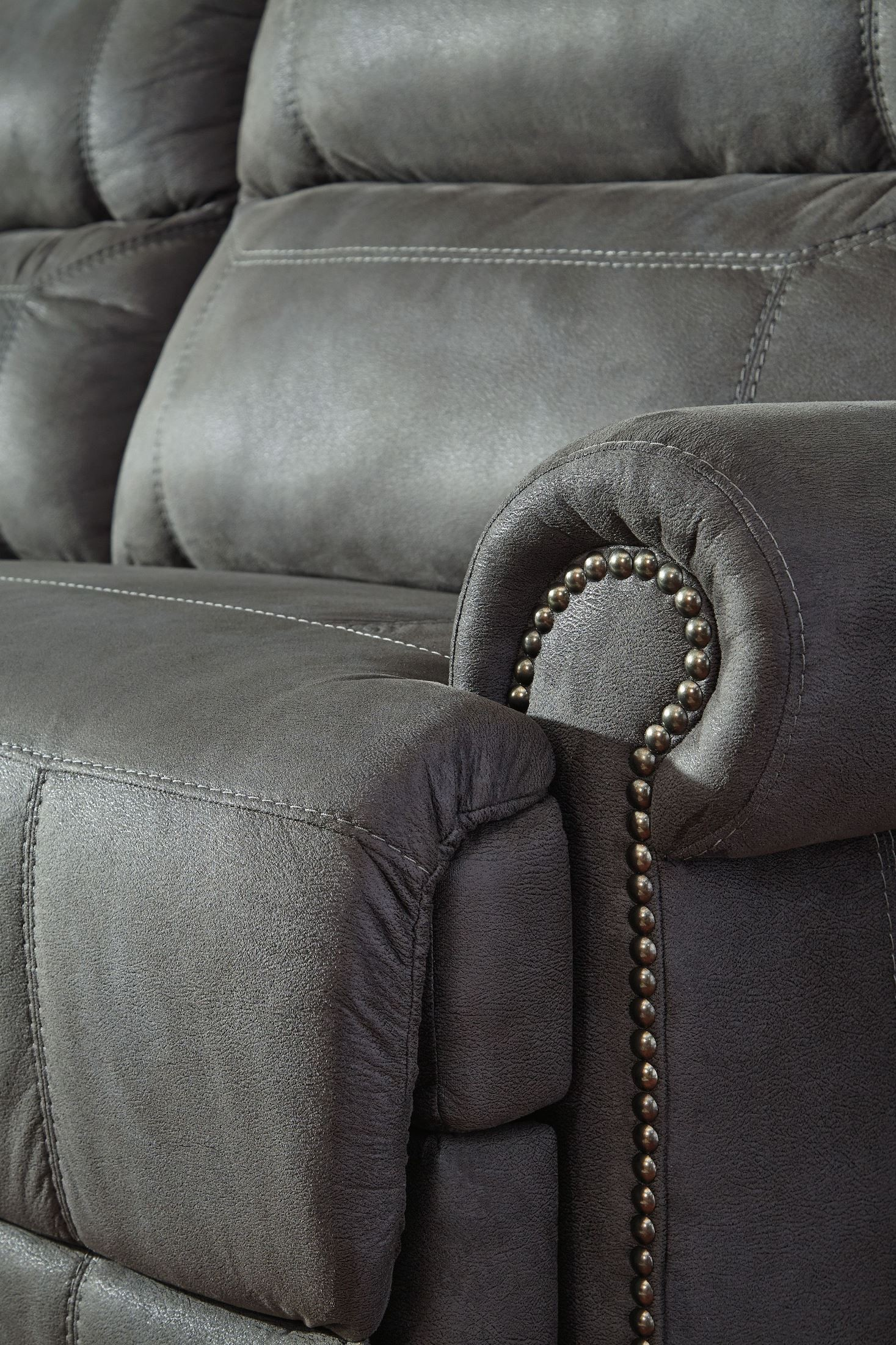 austere gray reclining loveseat with console from 83654