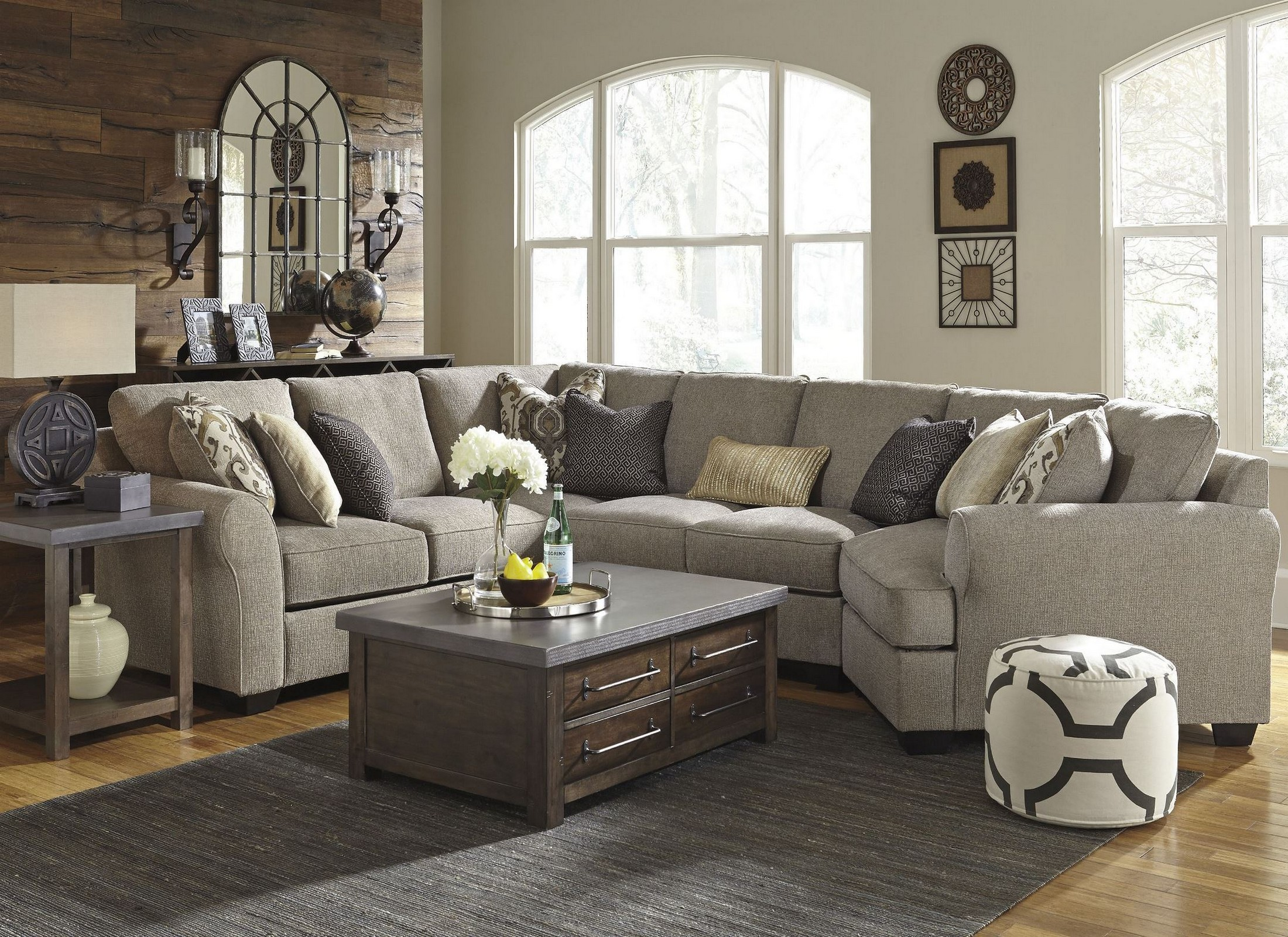 Pantomine Driftwood RAF Cuddler Sectional From Ashley | Coleman Furniture