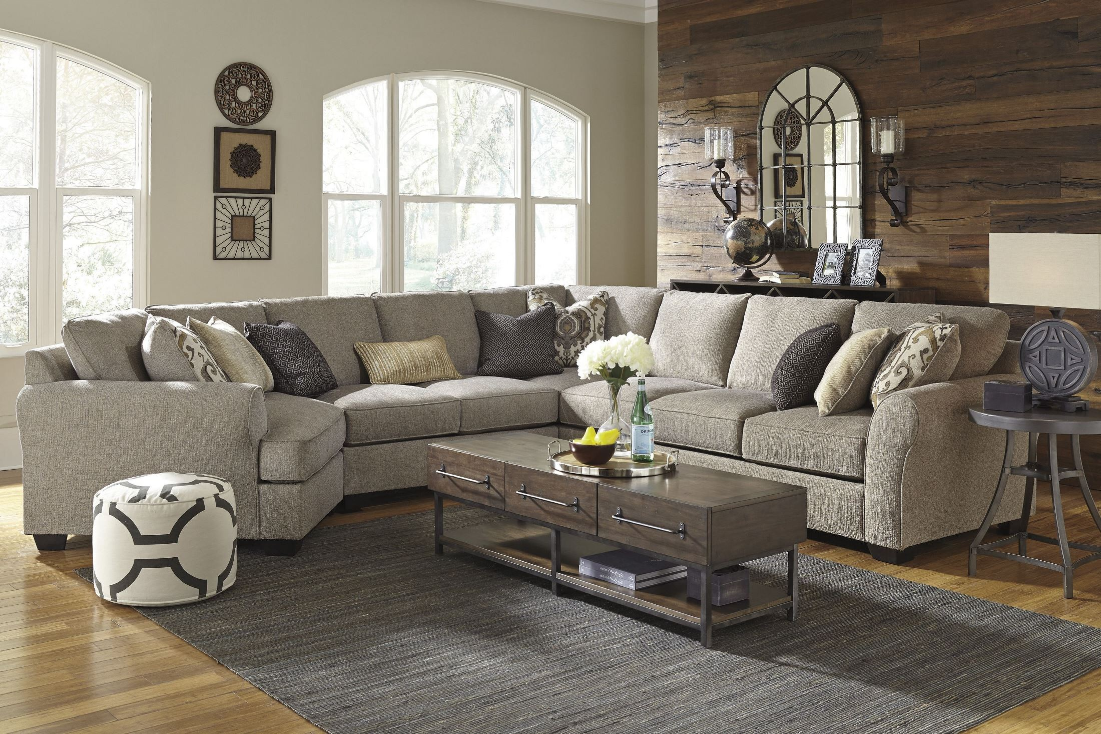 Pantomine Driftwood Laf Cuddler Sectional From Ashley Coleman  ~ Sectional Sofa With Cuddler