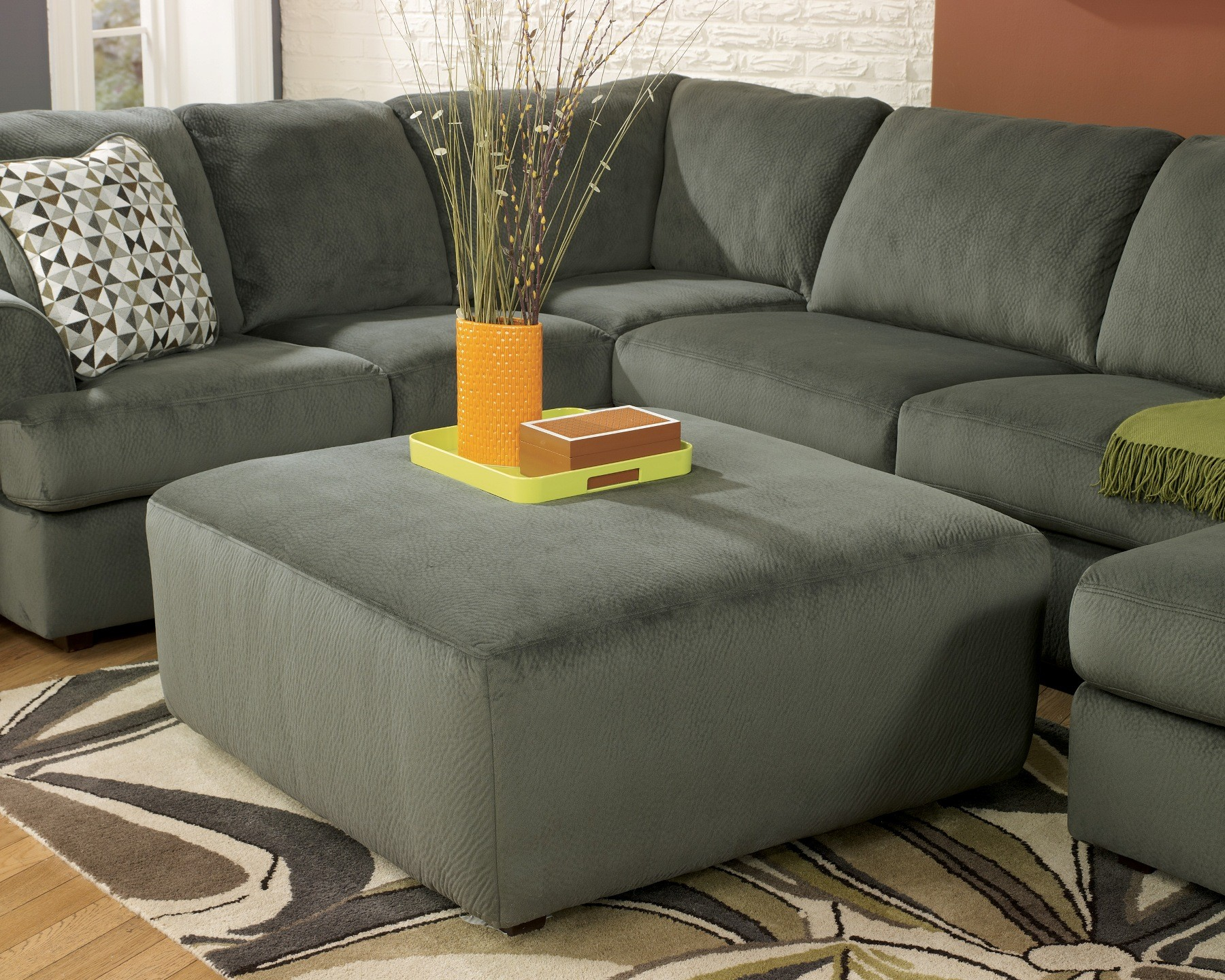 Jessa Place Pewter Oversized Accent Ottoman From Ashley