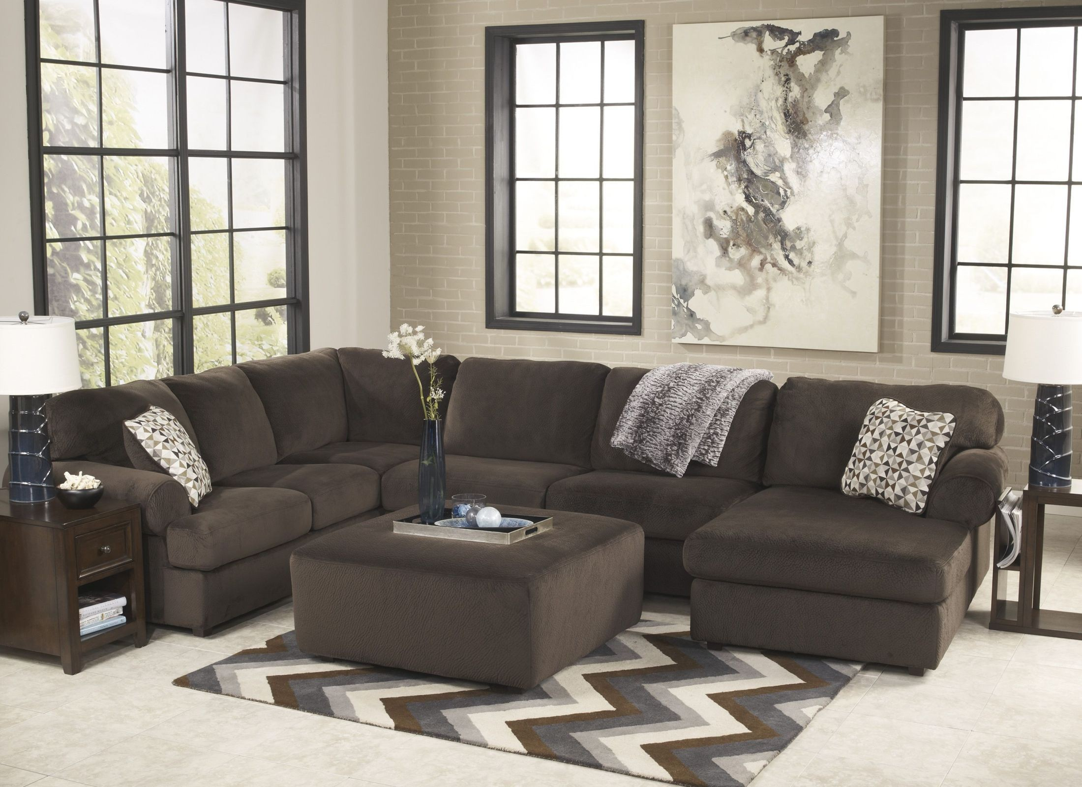 Jessa Place Chocolate Right Arm Facing Sectional From
