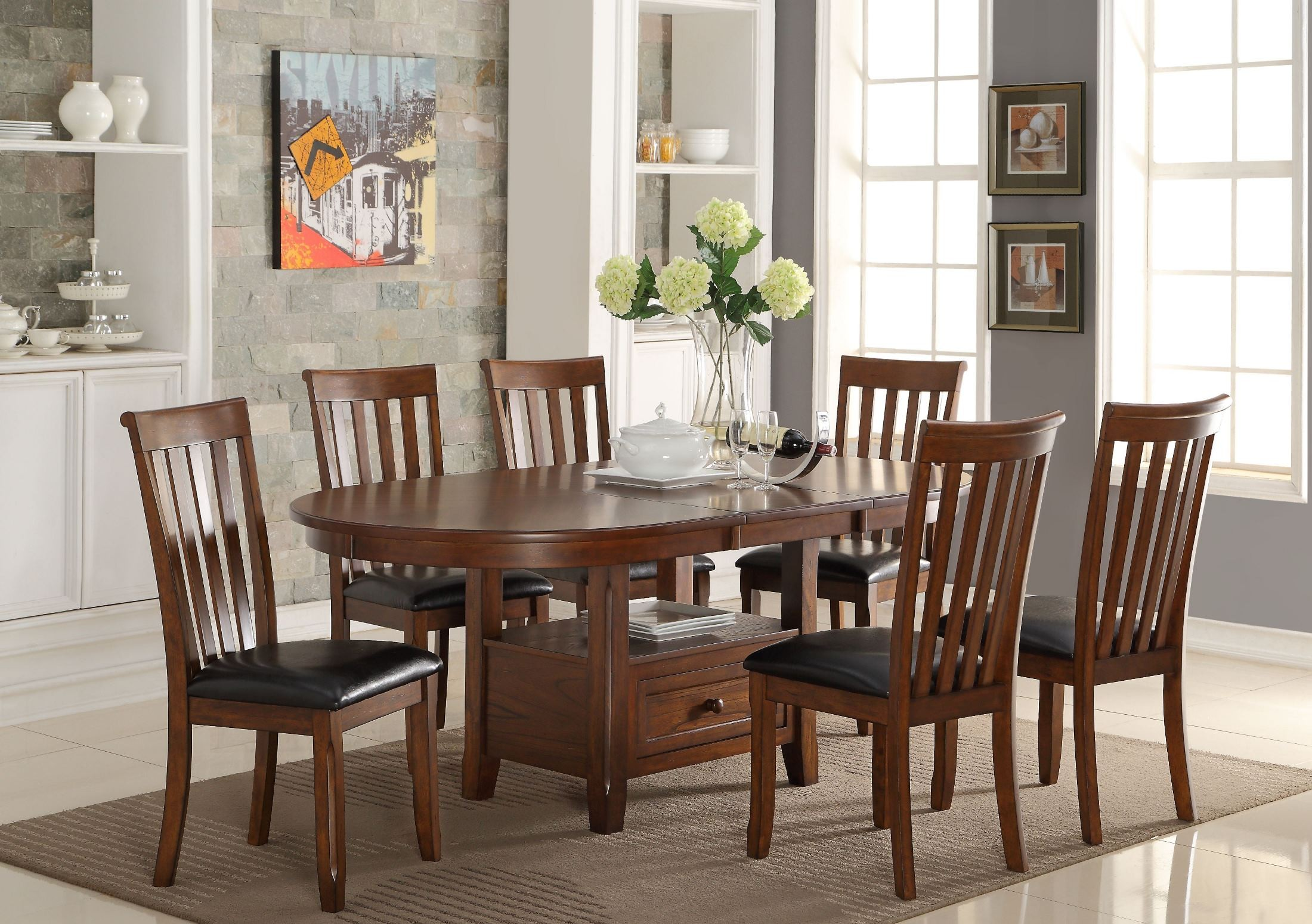 Wilson Burnished Cherry Extendable Dining Room Set From New Classic Coleman