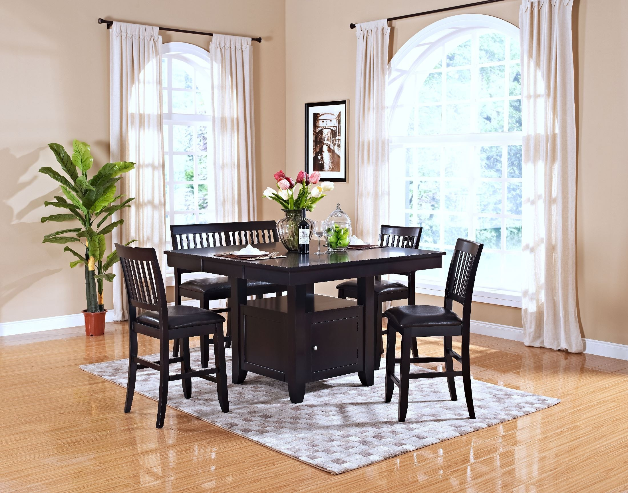 kaylee espresso counter height storage dining room set from new