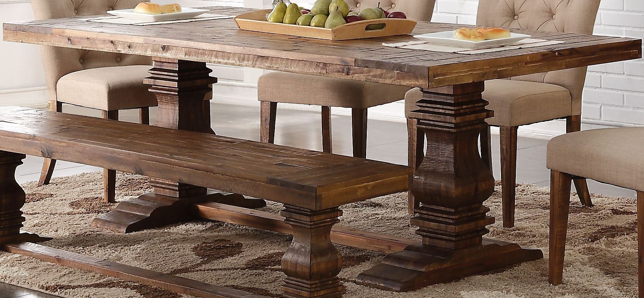 Distressed Dining Table - Normandy vintage distressed dining table