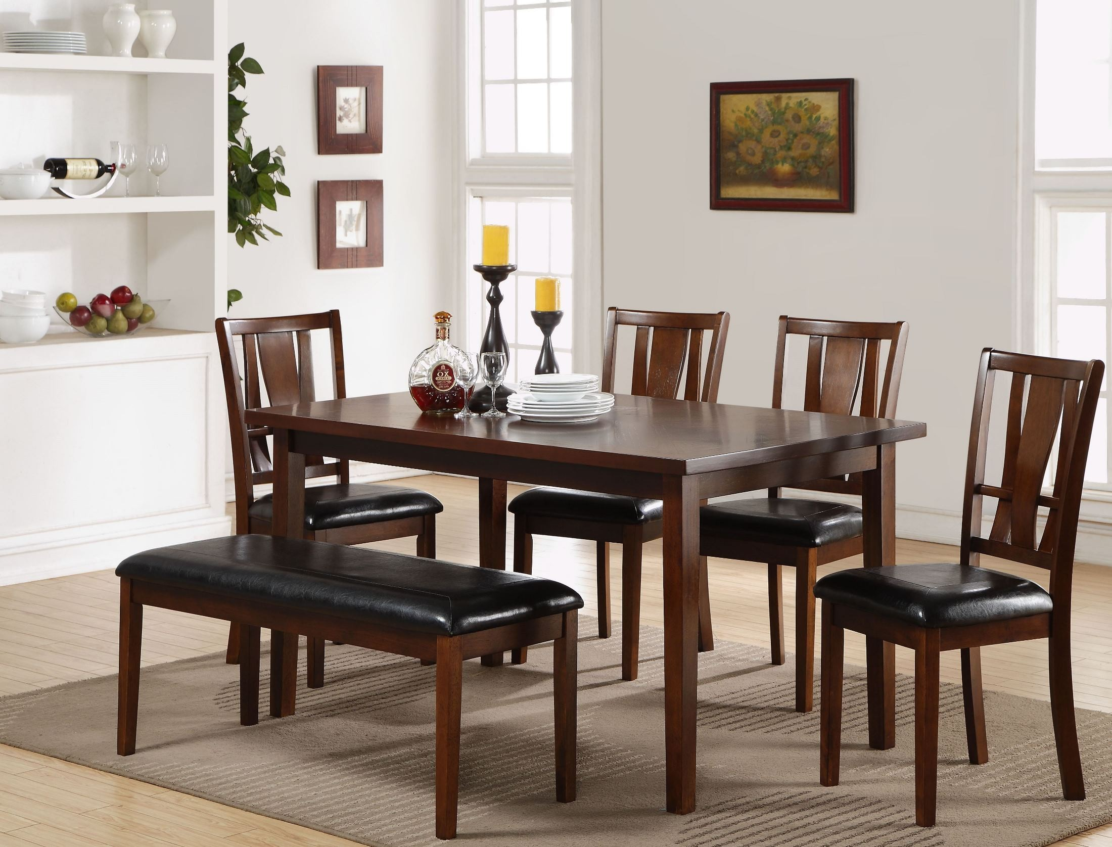 6 pcs dixon dark espresso dining room set from new classic for Dining room sets 6 piece