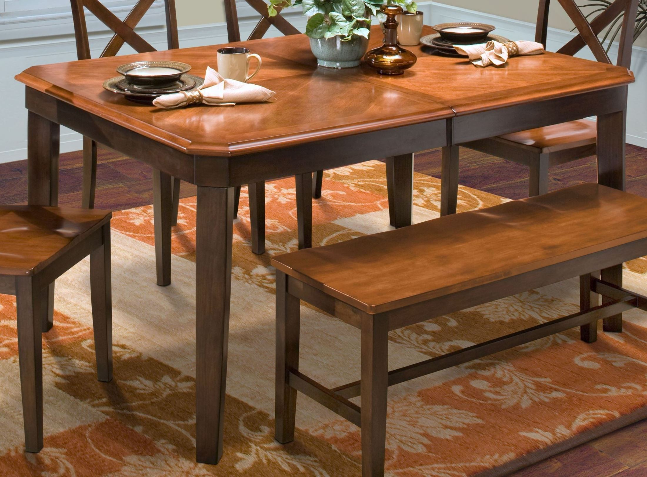 Latitudes Ginger/African Chestnut Cut Corner Dining Table