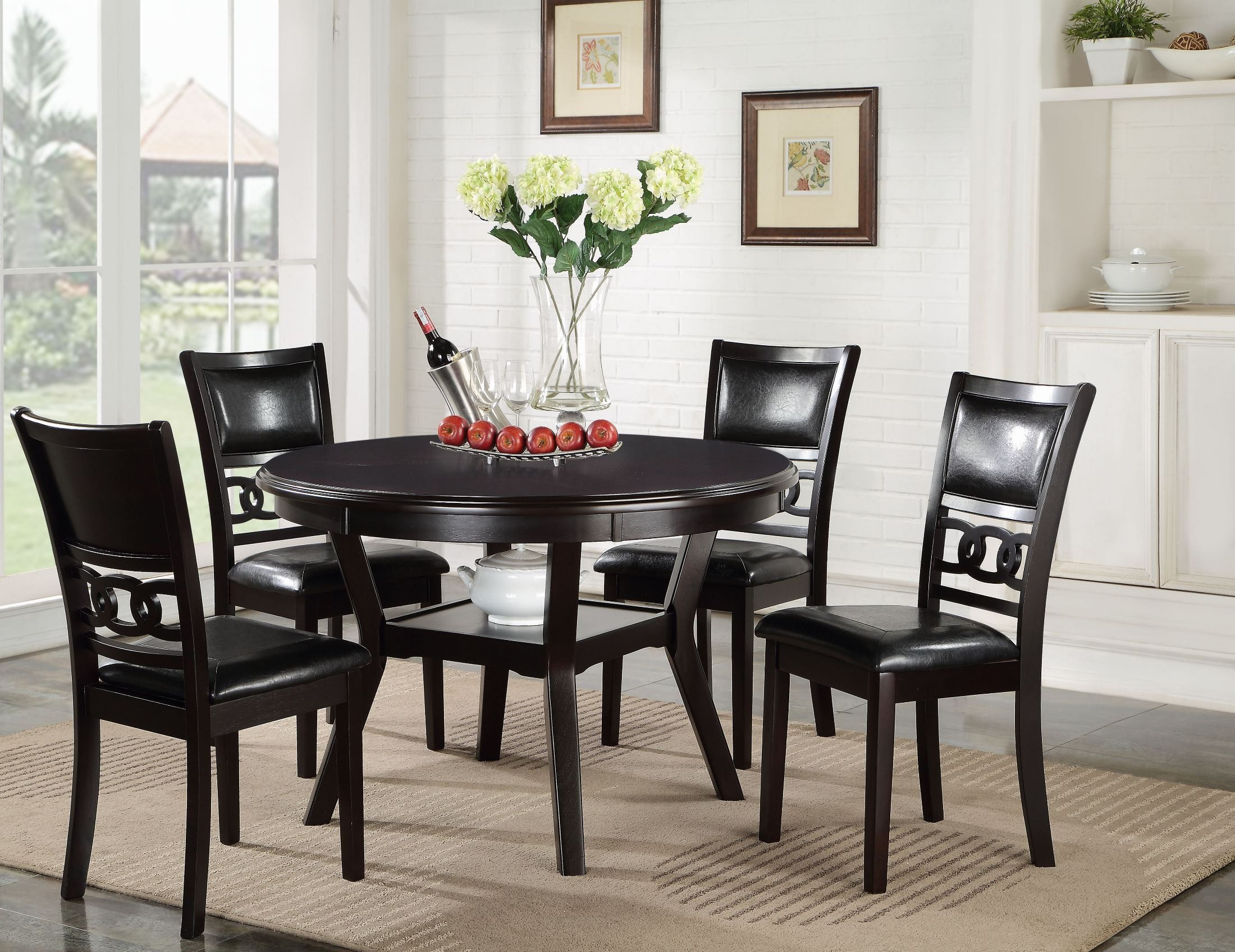 5 Pcs Gia Ebony Round Dining Table Set From New Classic