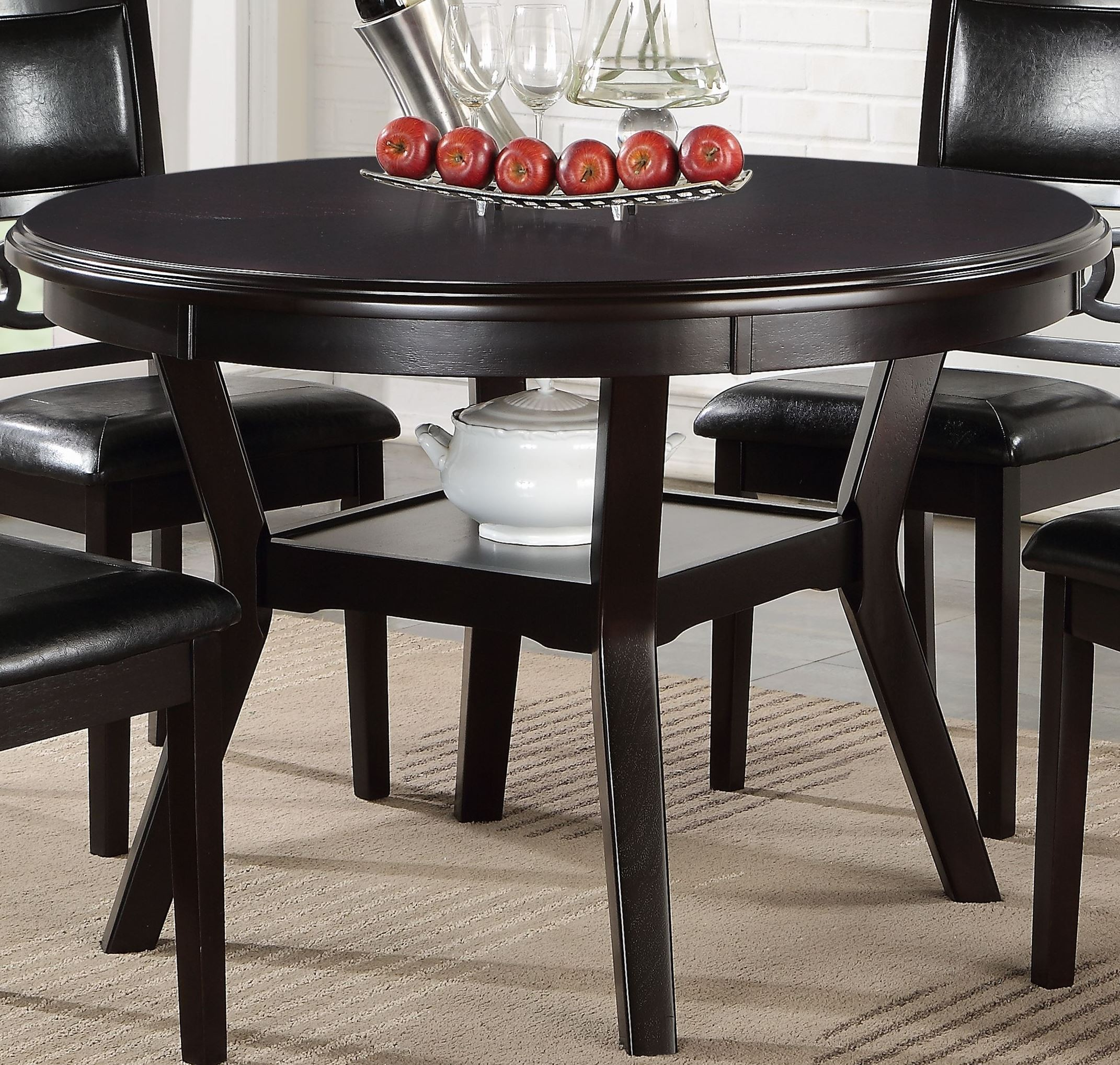 Round Dining Table For 5: 5 Pcs Gia Ebony Round Dining Table Set, D1701-50S-EBO, New
